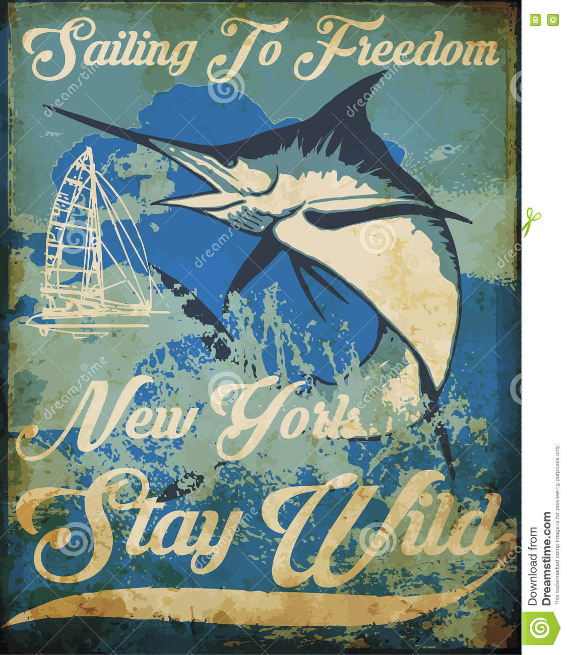 Vintage Sailing Poster Tee Graphic Design Stock Vector Image 71828035