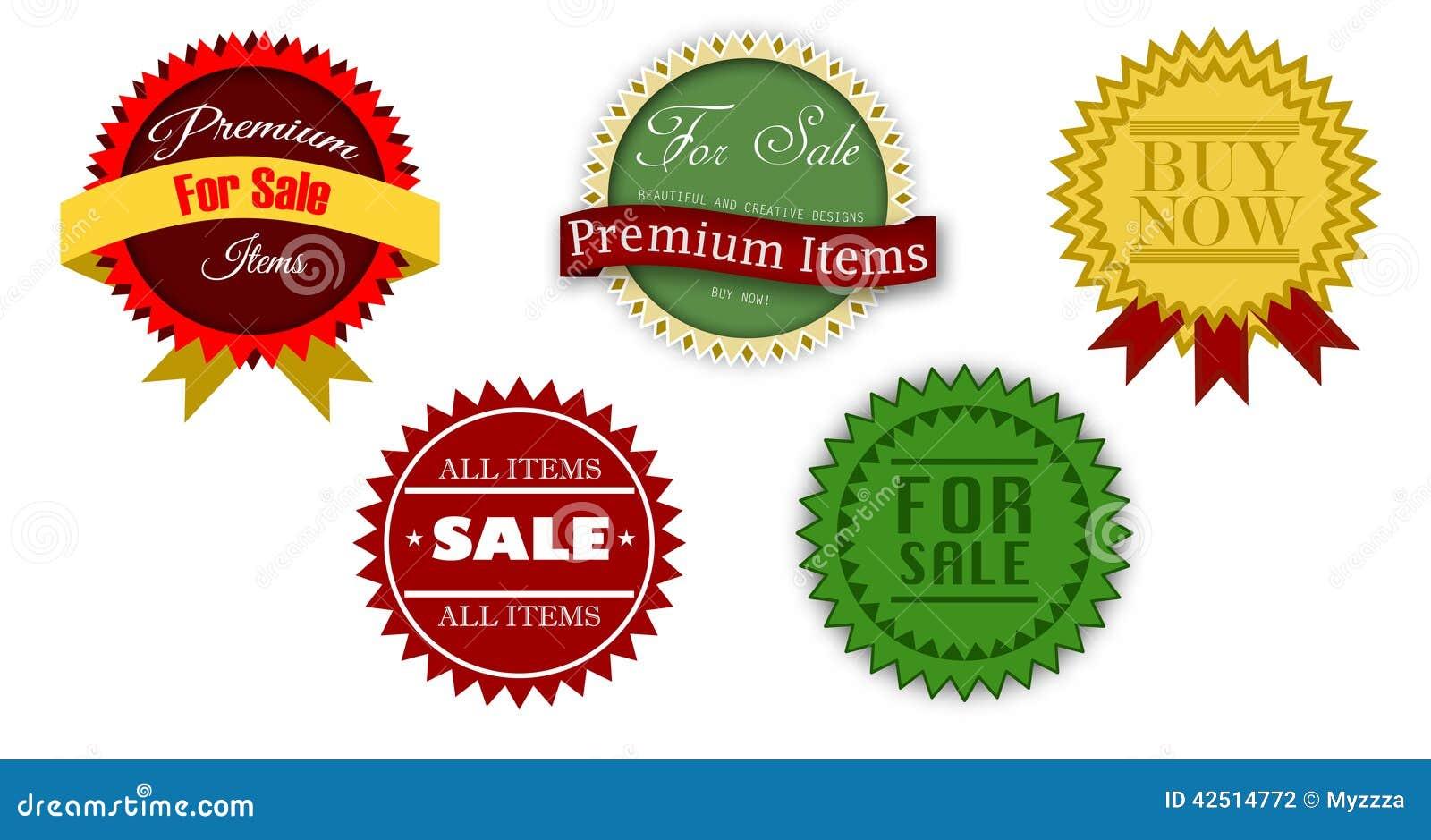 Vintage Sale Icons Stock Photo