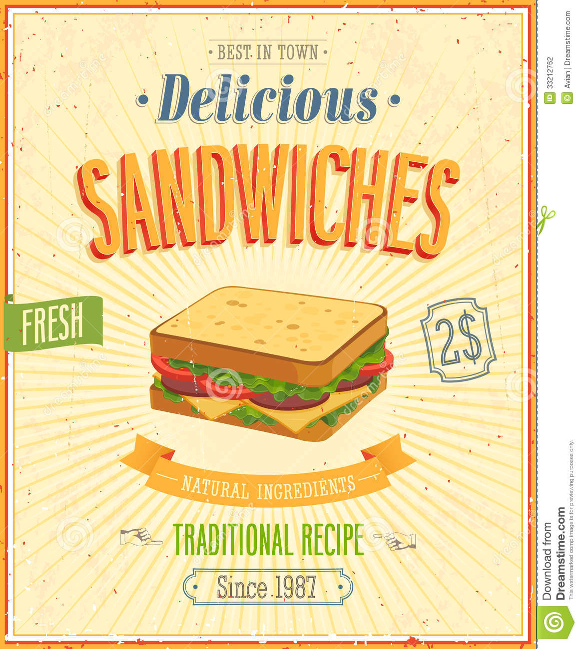 Vintage Sandwiches Poster Stock Photography Image 33212762