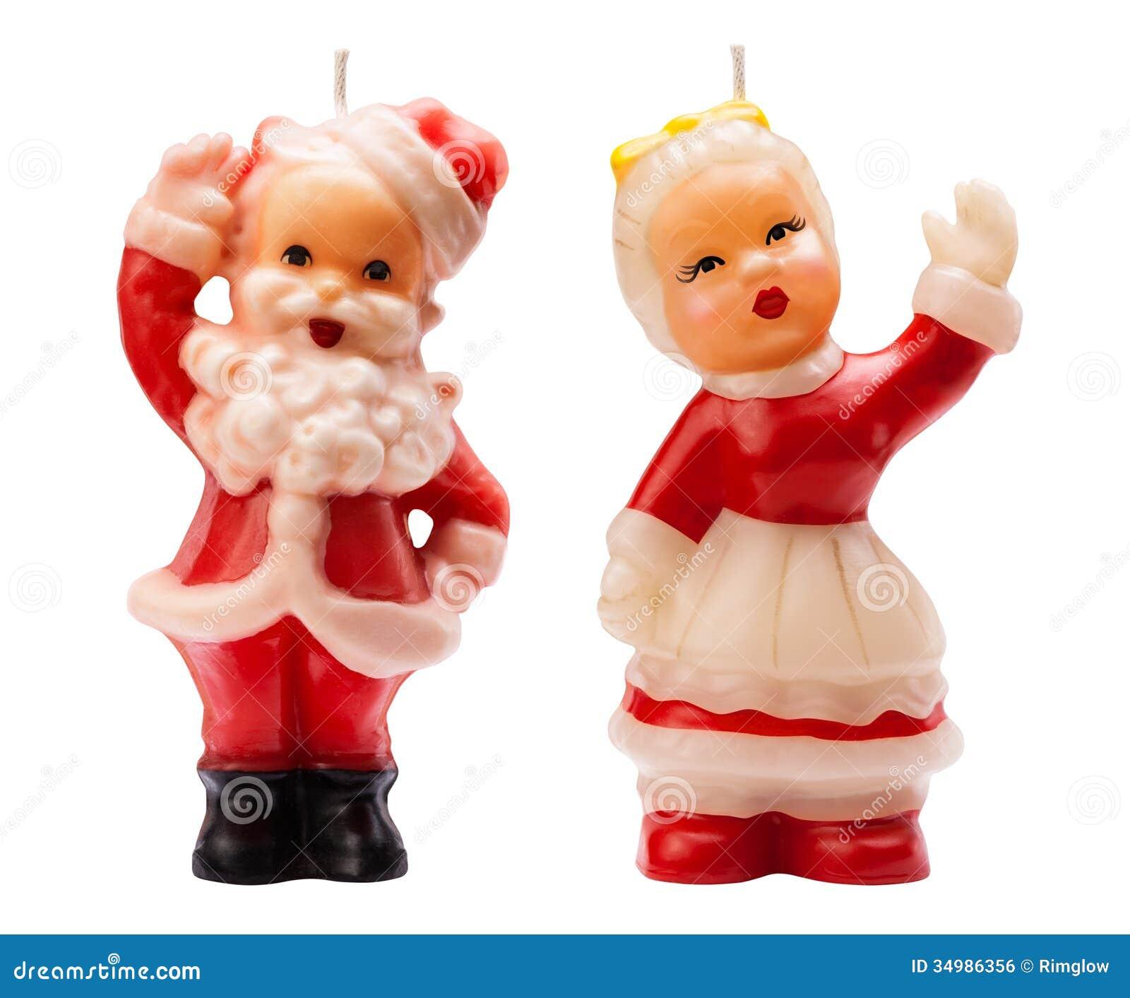 Vintage Sannta Christmas Candles Royalty Free Stock Image - Image ...