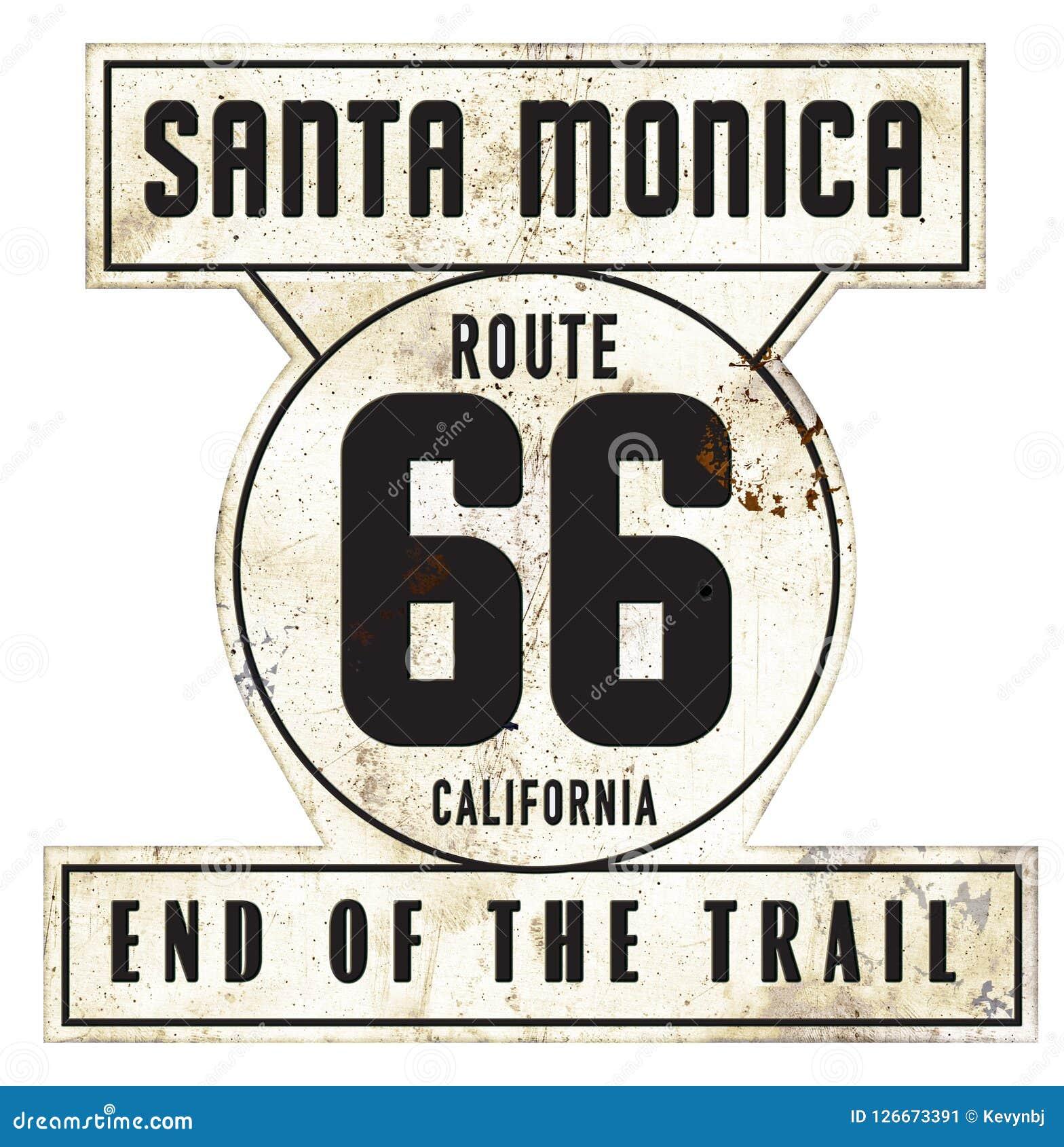 Vintage Santa Monica Pier Route 66 Sign Original Retro Style