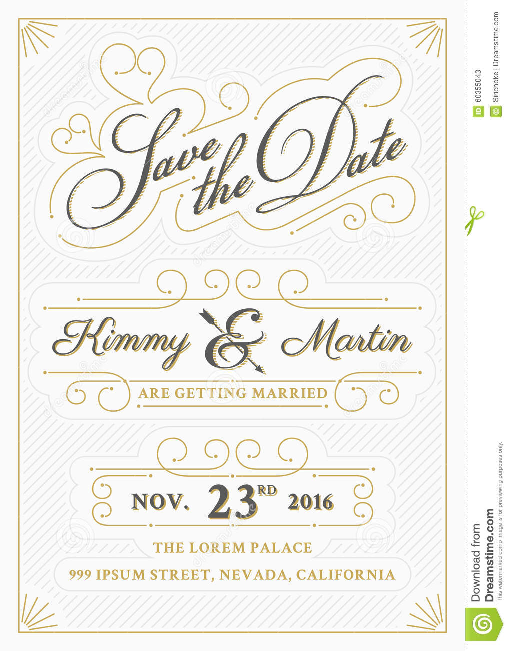 Vintage Save The Date Card Letterpress Style Stock Vector - Save the date templates free download