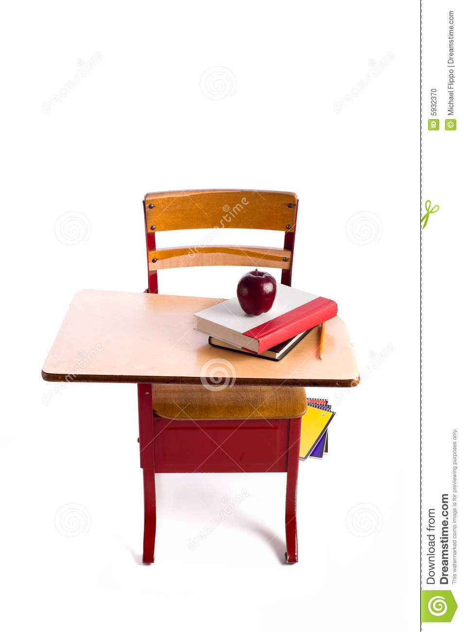 red, vintage school desk on a white background with books and an ... School Desk Background
