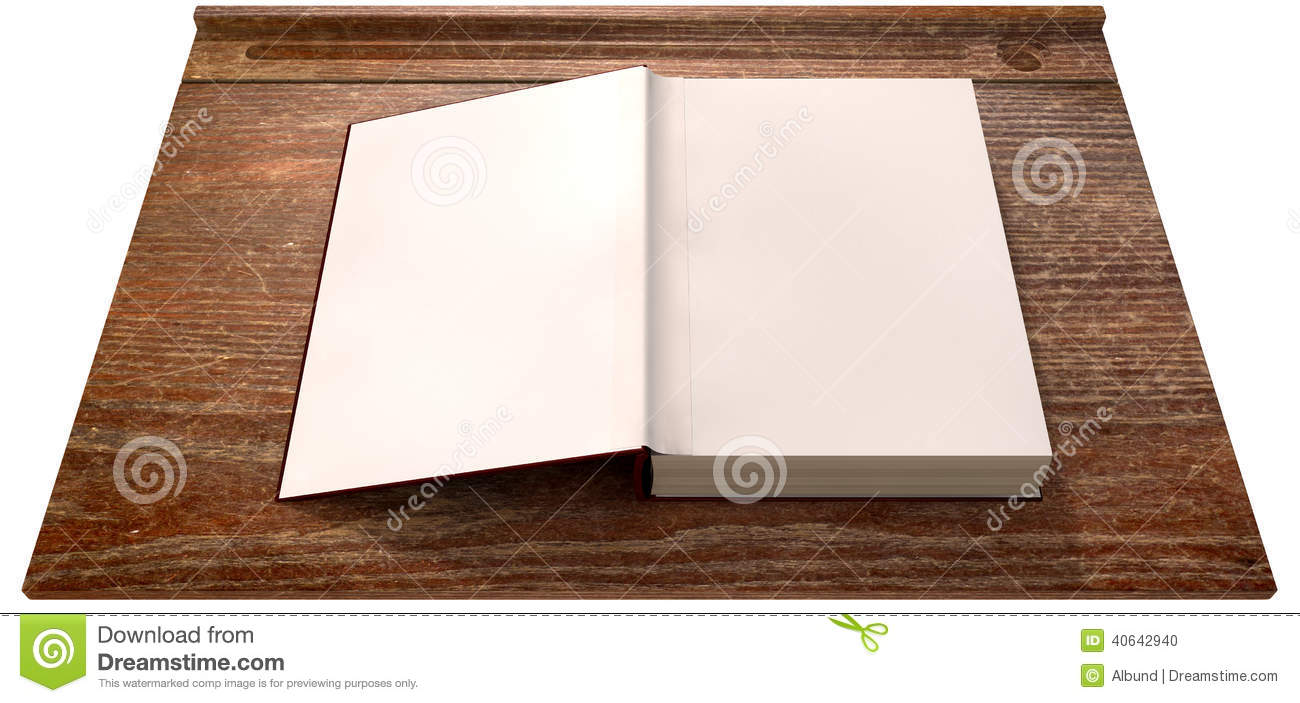 Vintage School Desk Top With Open Blank Book Stock Photo - Image ...