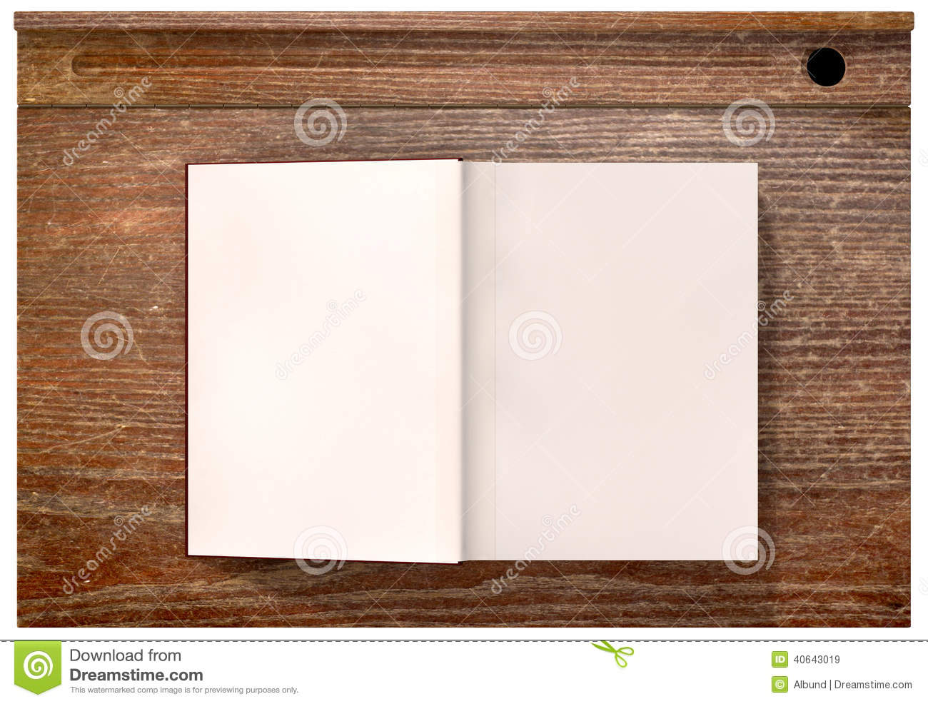 ... school desk and an open blank paged book on an isolated background School Desk Background