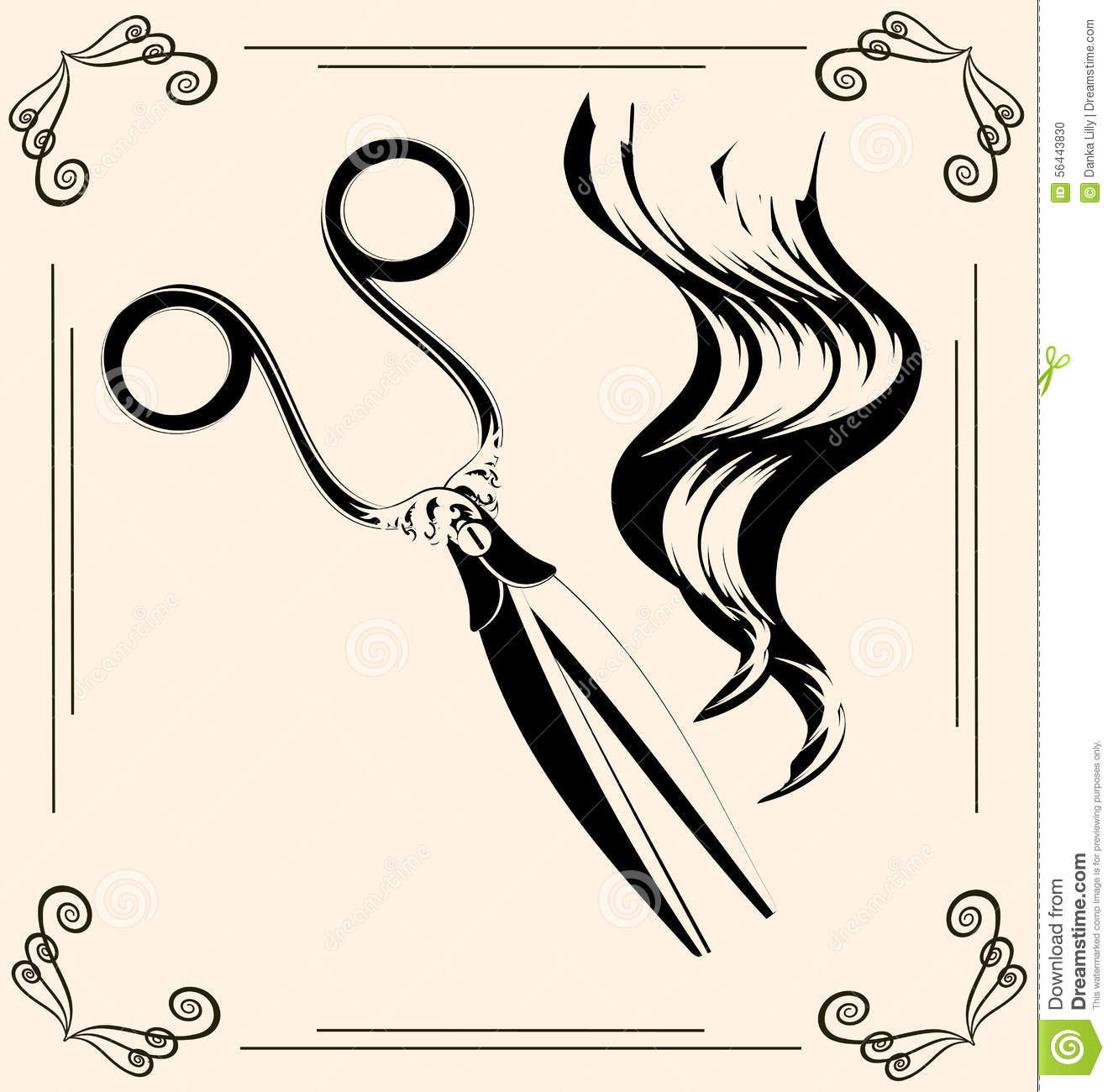 Black outlines of womans hair and vintage scissors.