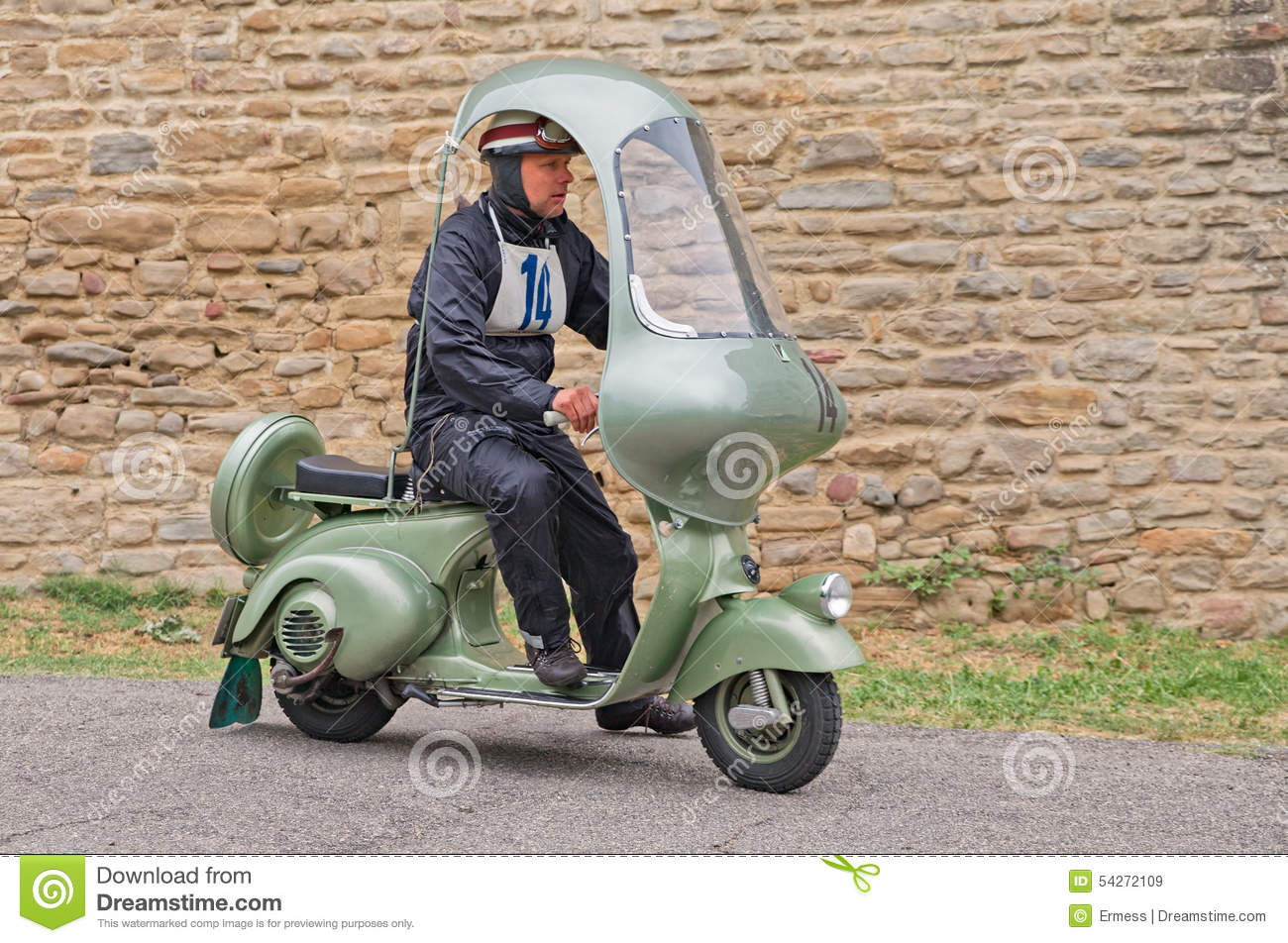 vintage scooter vespa with hard top editorial stock image - image