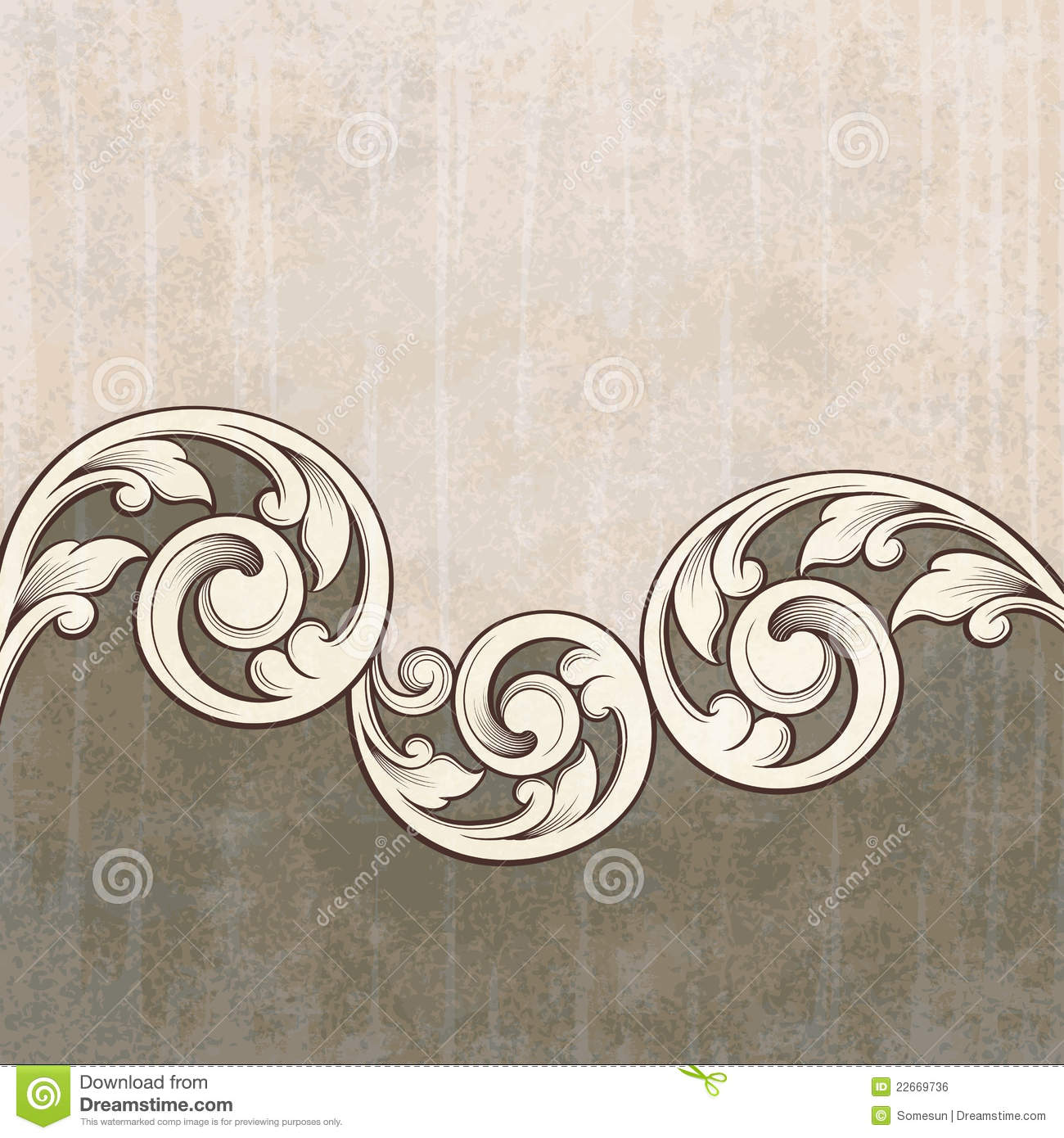 Antique Scroll Patterns: Vintage Scroll Engraving Pattern Grunge Background Royalty