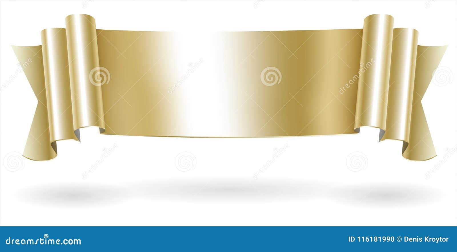 golden decorative scroll banner stock illustration illustration of