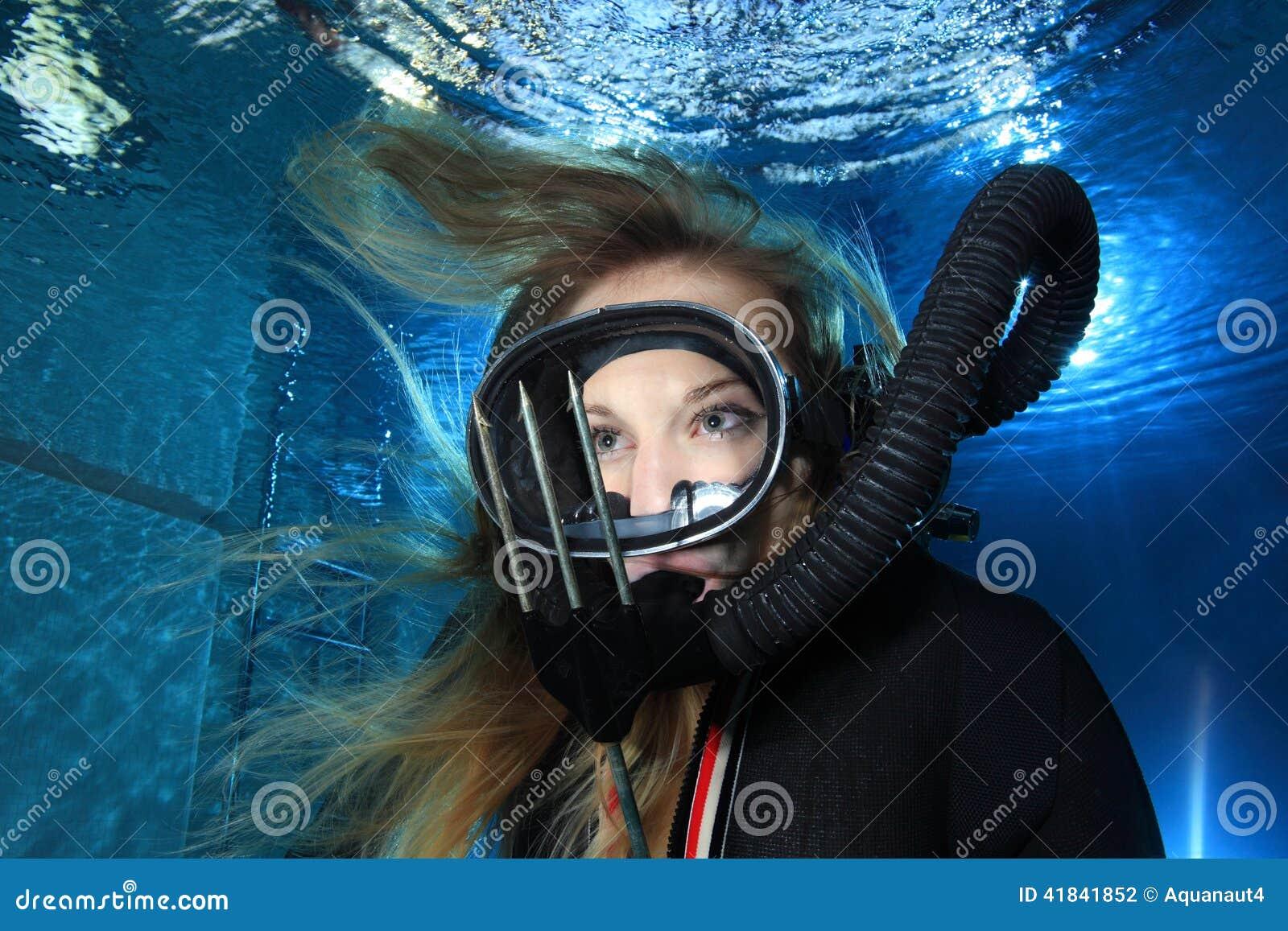 woman Underwater vintage
