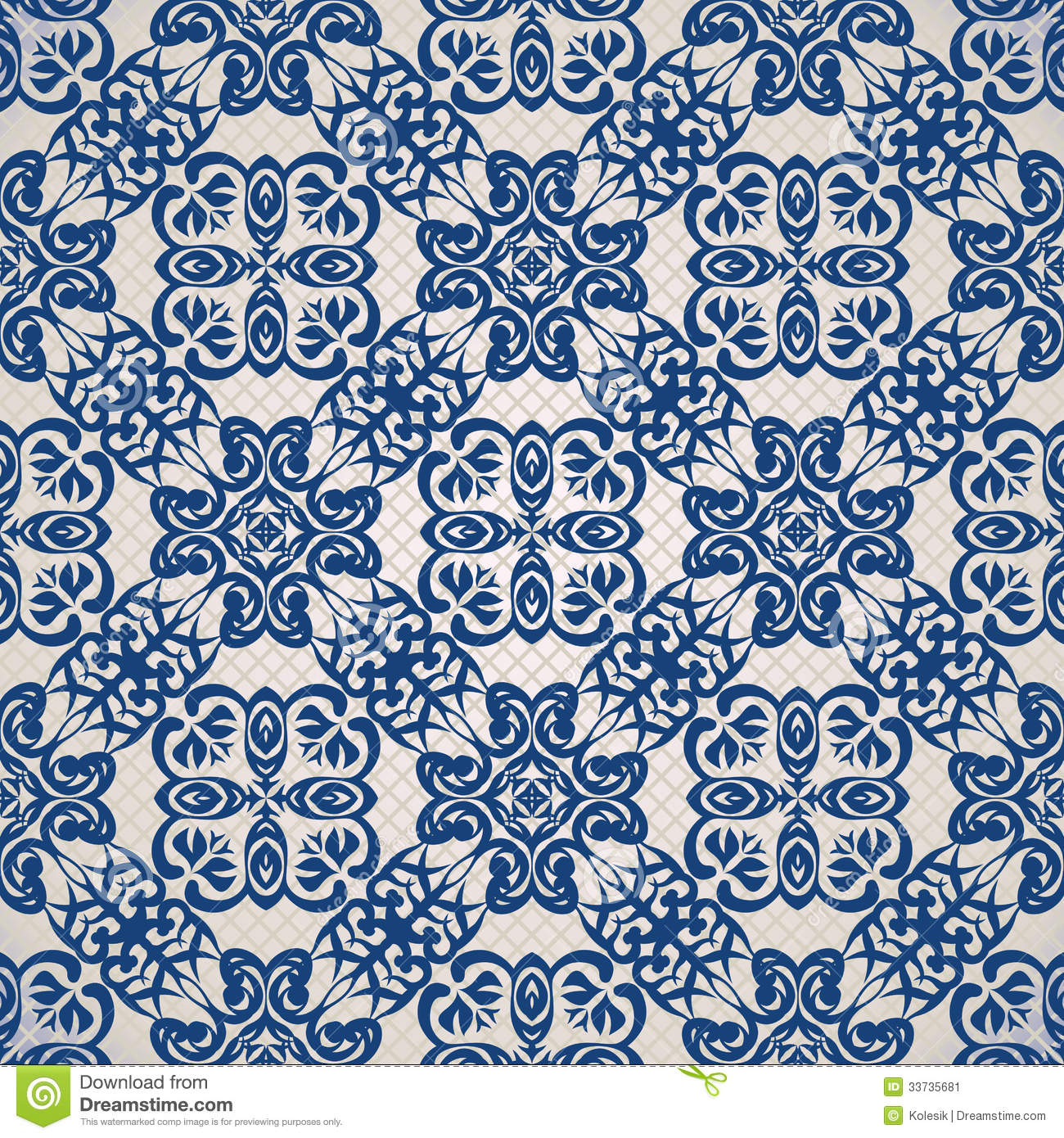 Vintage Seamless Background In Blue Stock Vector ...