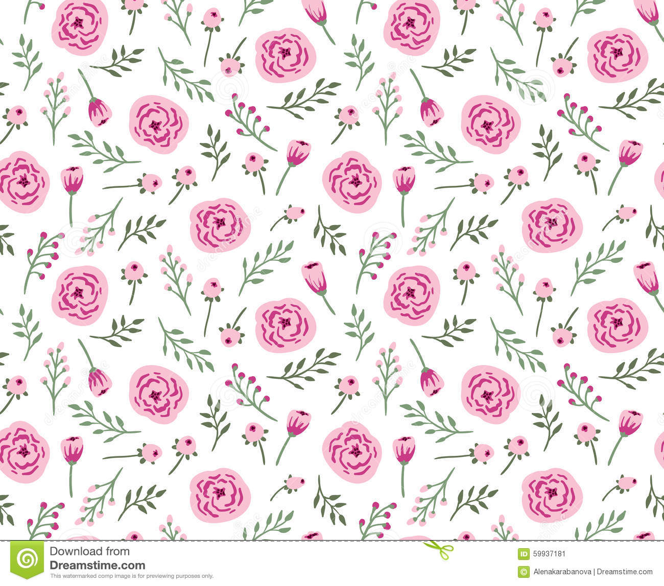 Vintage seamless background with field flowers and herbs.