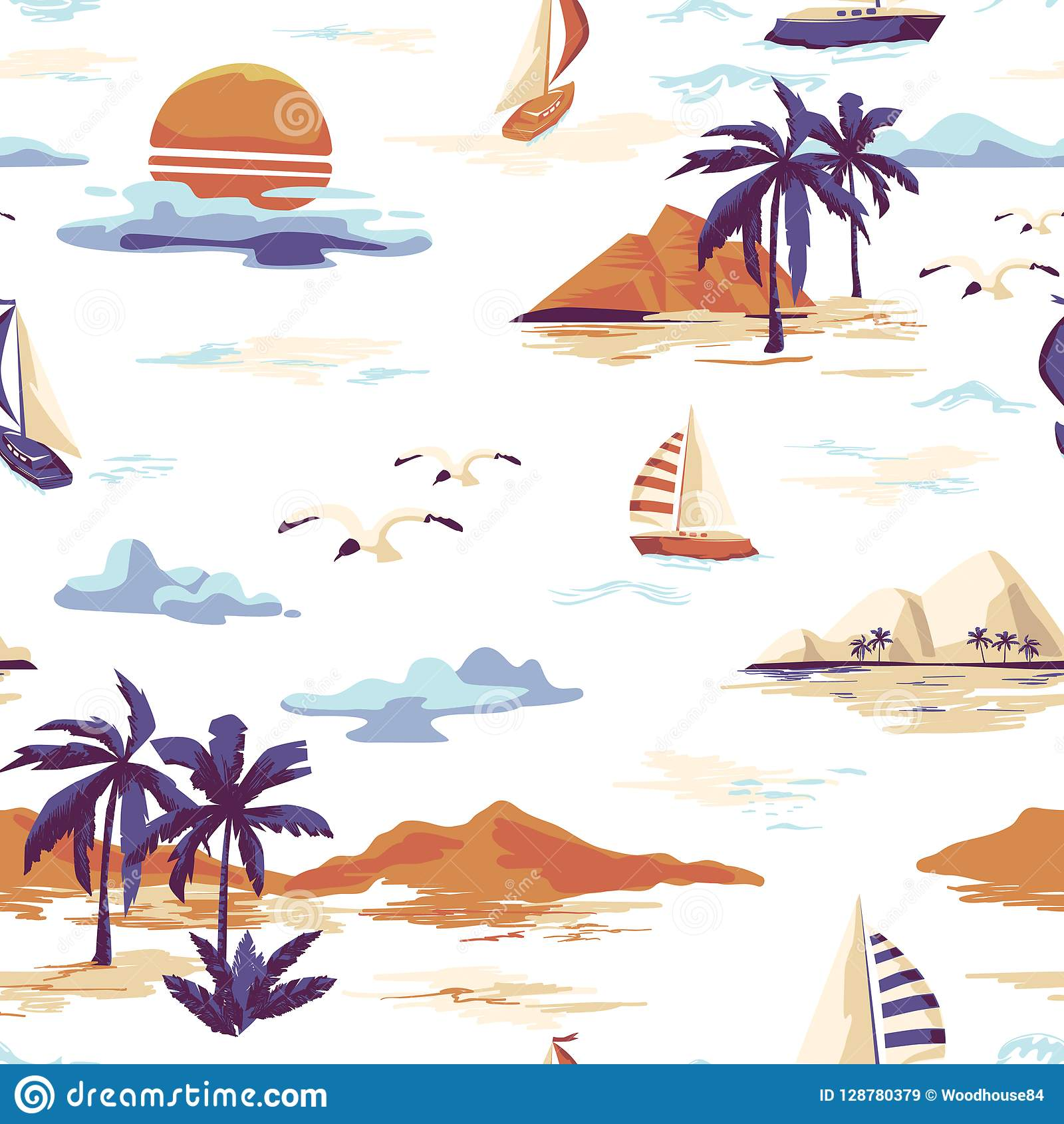 Vintage seamless island pattern Landscape with palm trees, yacht, beach and ocean hand drawn style