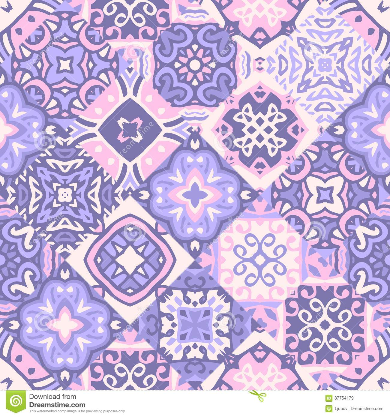 Vintage seamless patchwork pattern. Ceramic tiles with decorative ornament