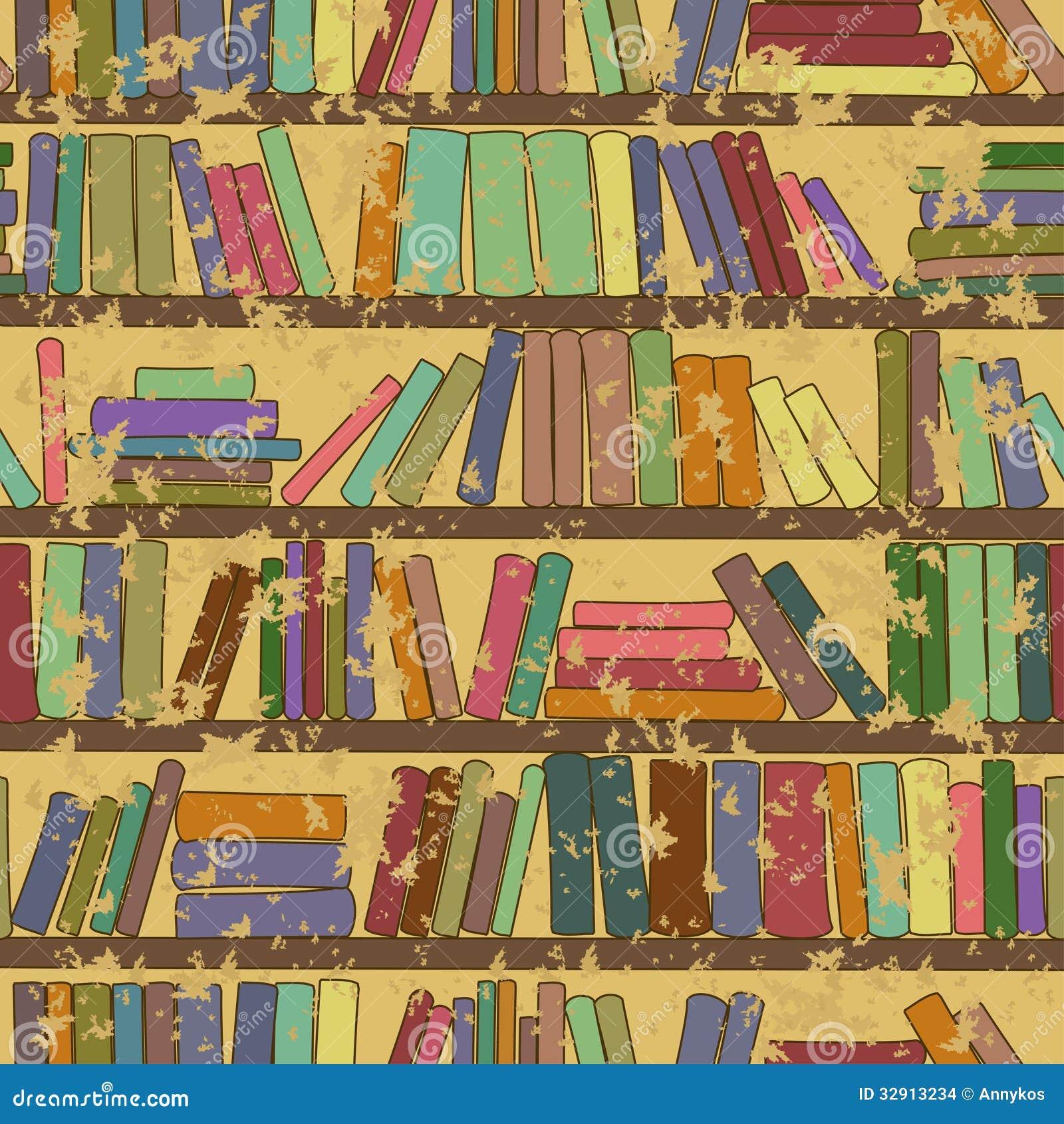 Vintage Seamless Pattern Of Bookshelf With Books Stock ...