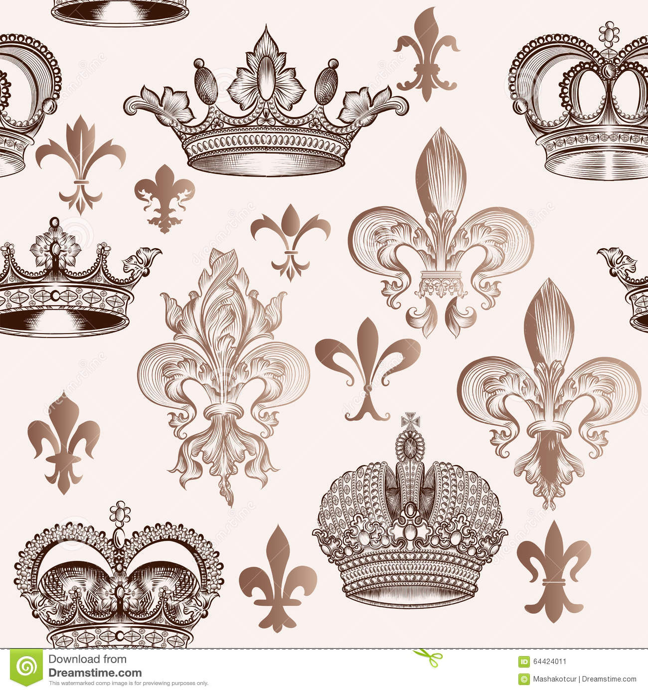 Vintage Seamless Pattern With Crowns And Fleur De Lis For ...