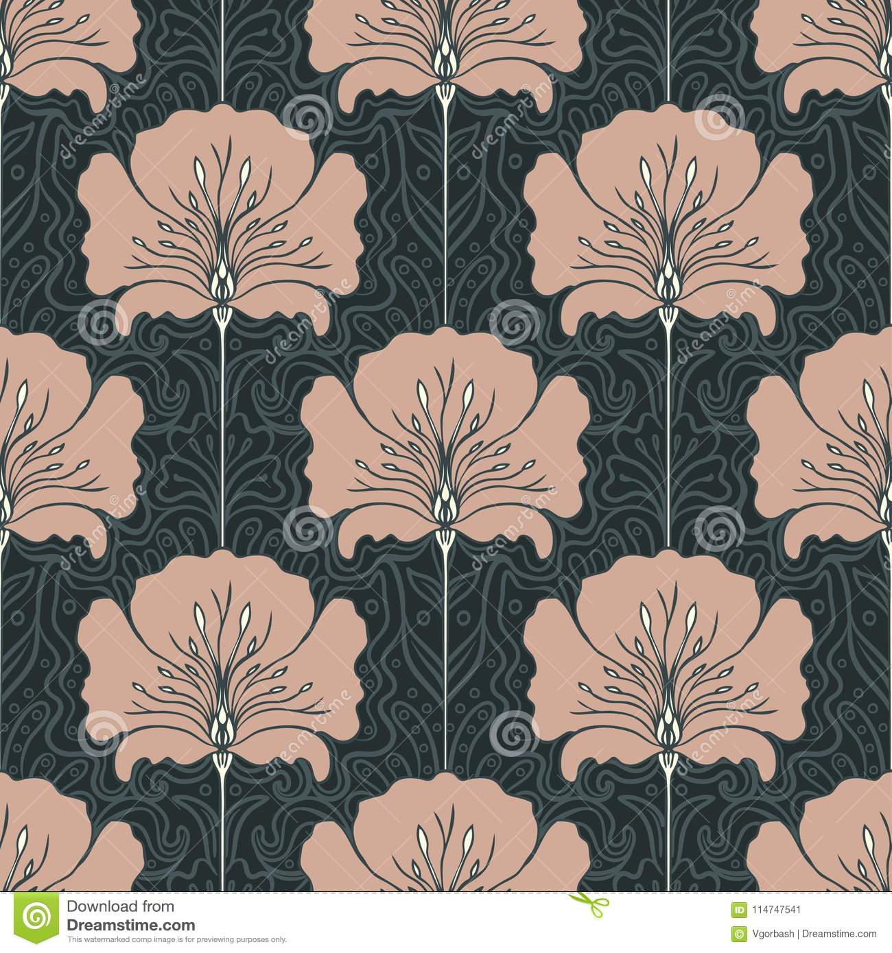 Vintage Seamless Pattern With Pink Flowers Art Nouveau Style V