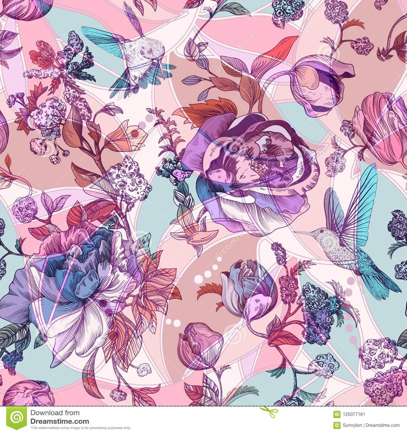 Vintage Seamless Pattern With Roses And Peonies Retro Floral