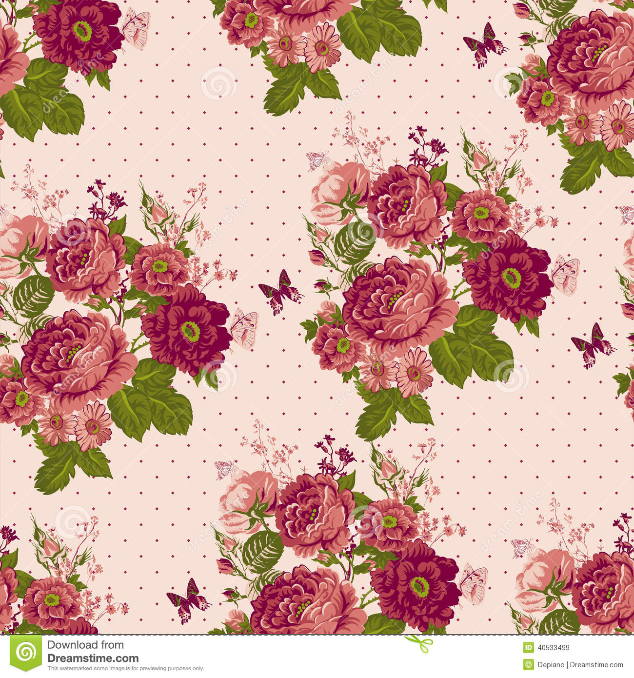 Vintage Print Fabric Rose Pattern Remnant Piece Sewing |Vintage Floral Rose Pattern