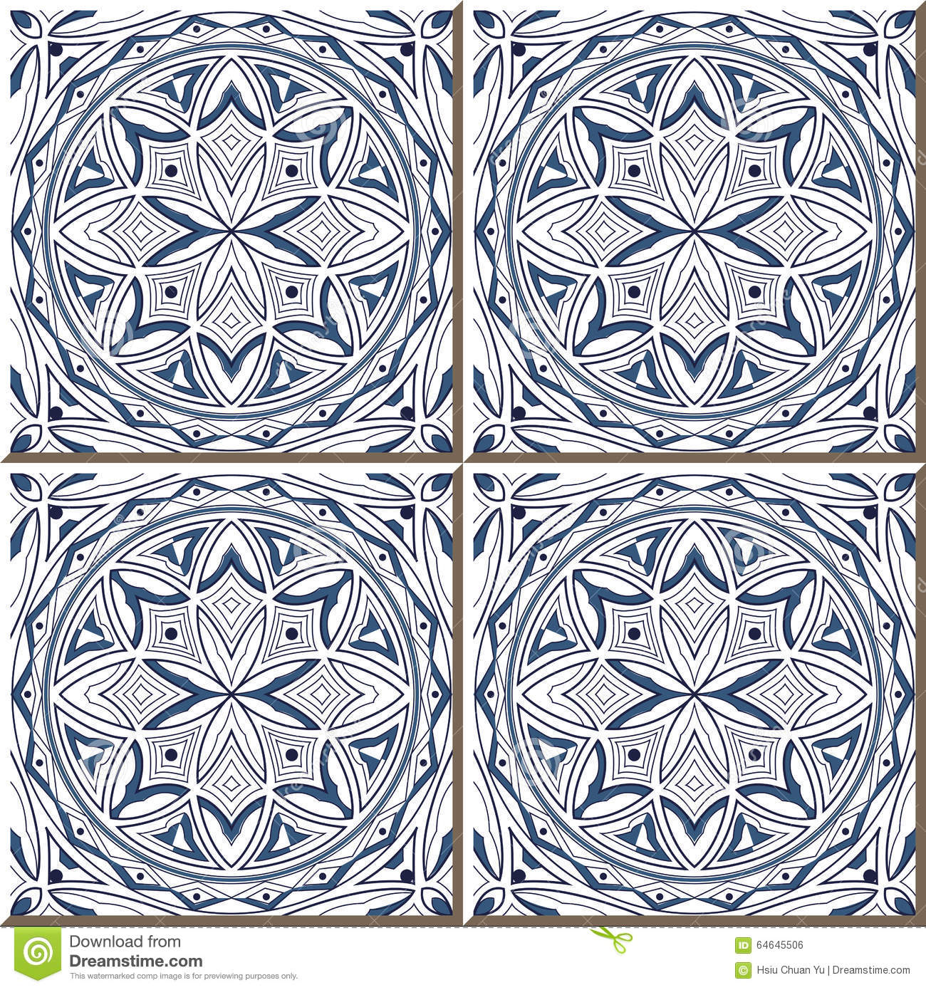 Vintage Seamless Wall Tiles Of Blue Round Geometry Outline, Moroccan ...