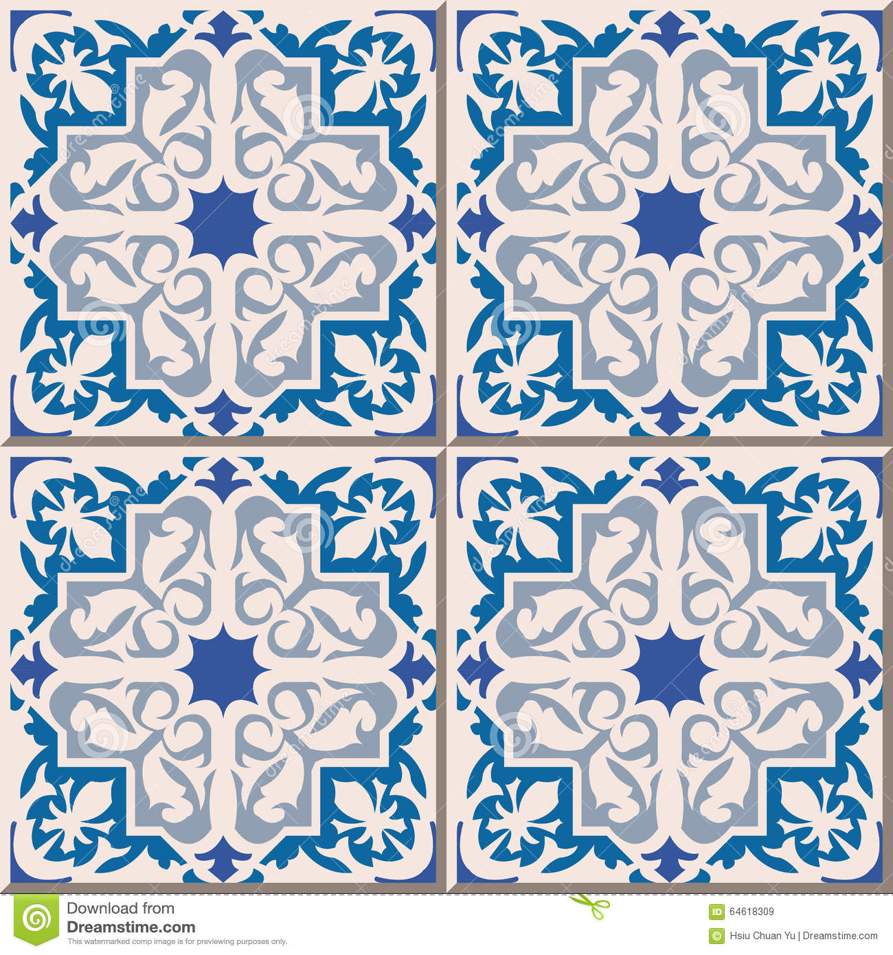 Vintage Seamless Wall Tiles Of Blue Star Geometry. Moroccan ...