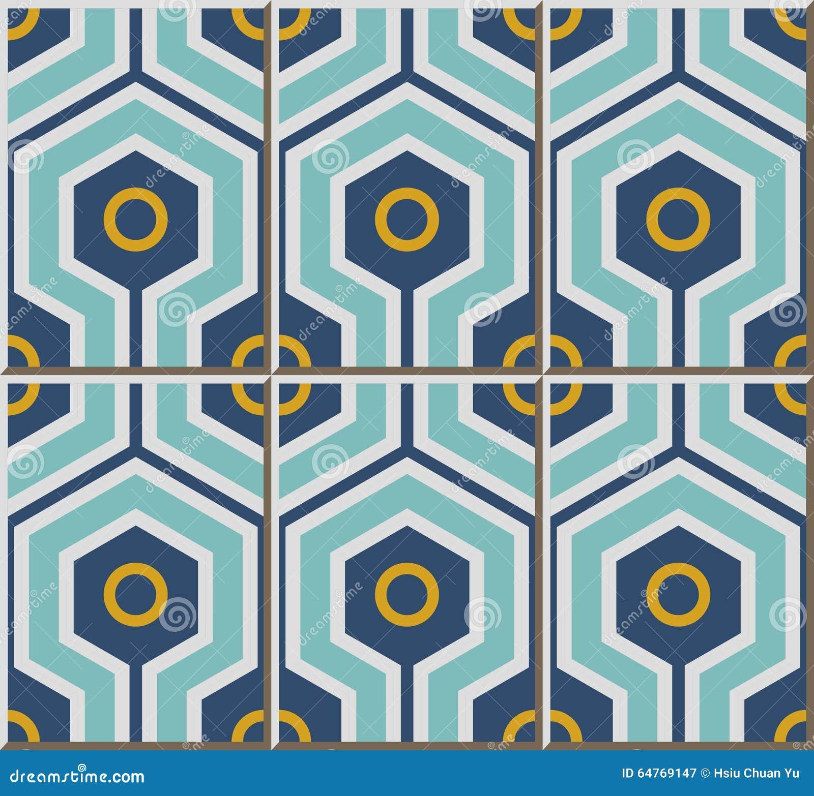 Vintage Seamless Wall Tiles Of Cross Hexagon Round, Moroccan ...