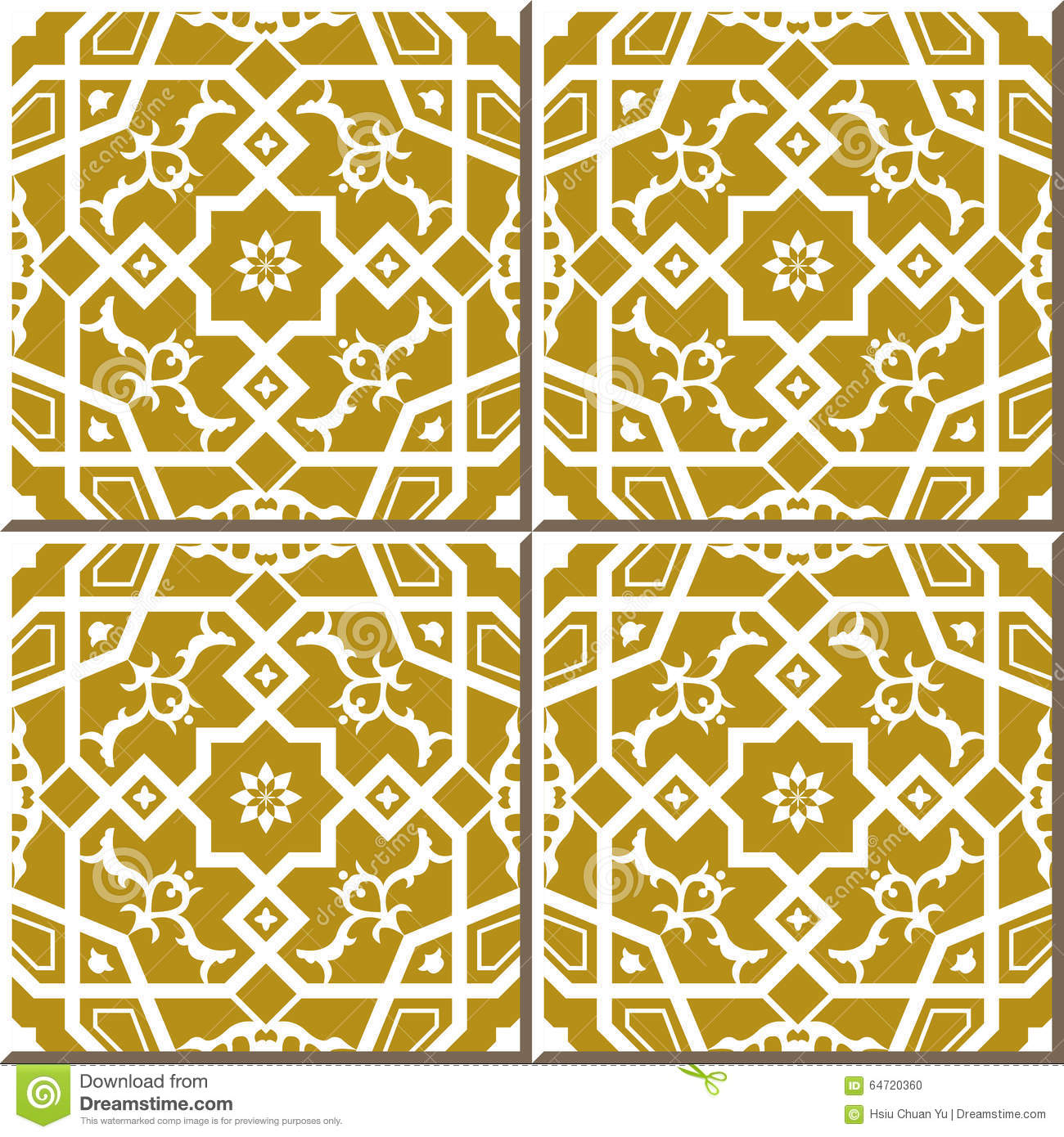 Vintage Seamless Wall Tiles Of Cross Polygon Star Lace, Moroccan ...