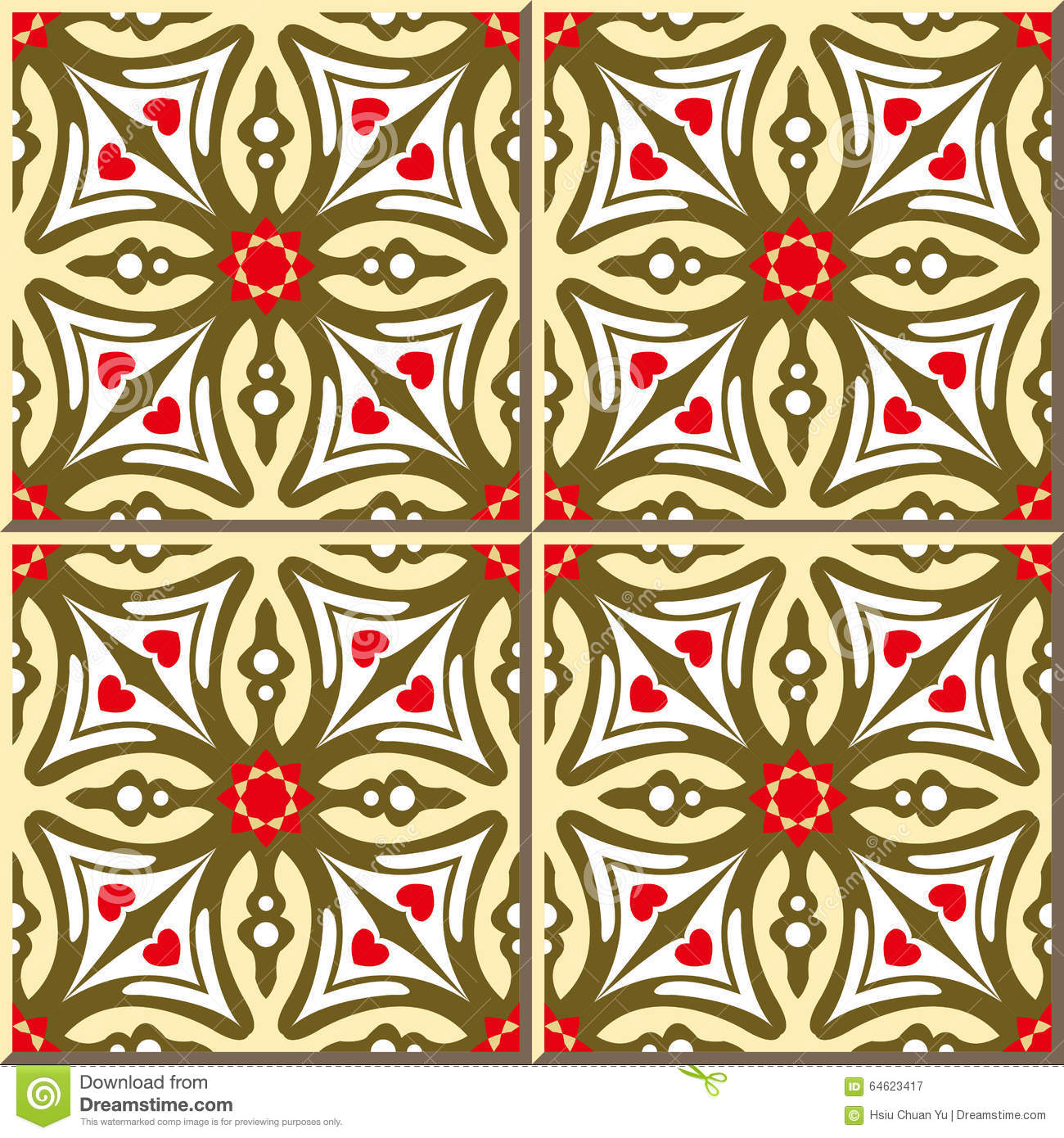 Vintage Seamless Wall Tiles Of Cross Red Star Flower, Moroccan ...