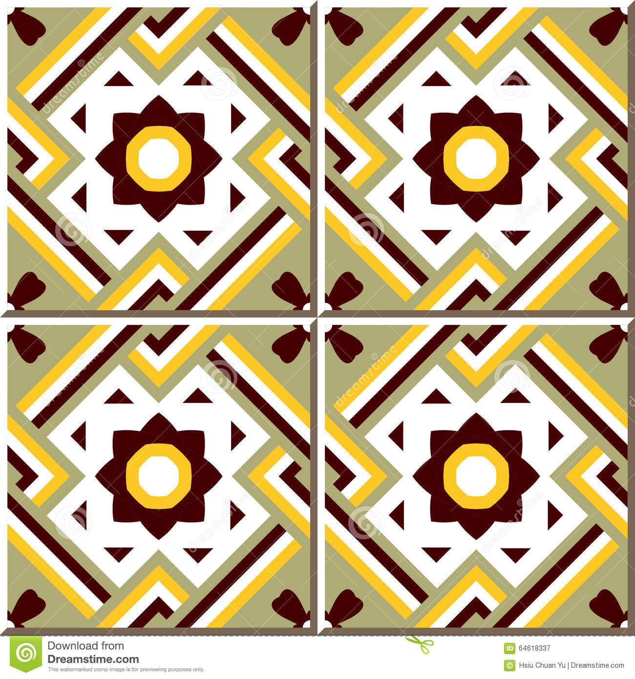Vintage Seamless Wall Tiles Of Cross Square Frame Flower. Moroccan ...