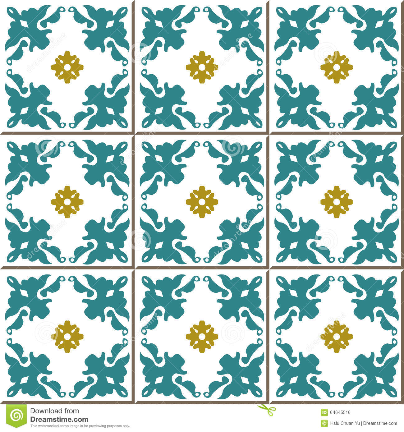 Vintage Seamless Wall Tiles Of Flower Kaleidoscope, Moroccan ...