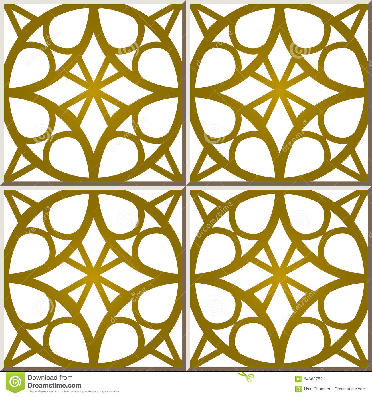 Vintage Seamless Wall Tiles Of Golden Round Frame, Moroccan ...