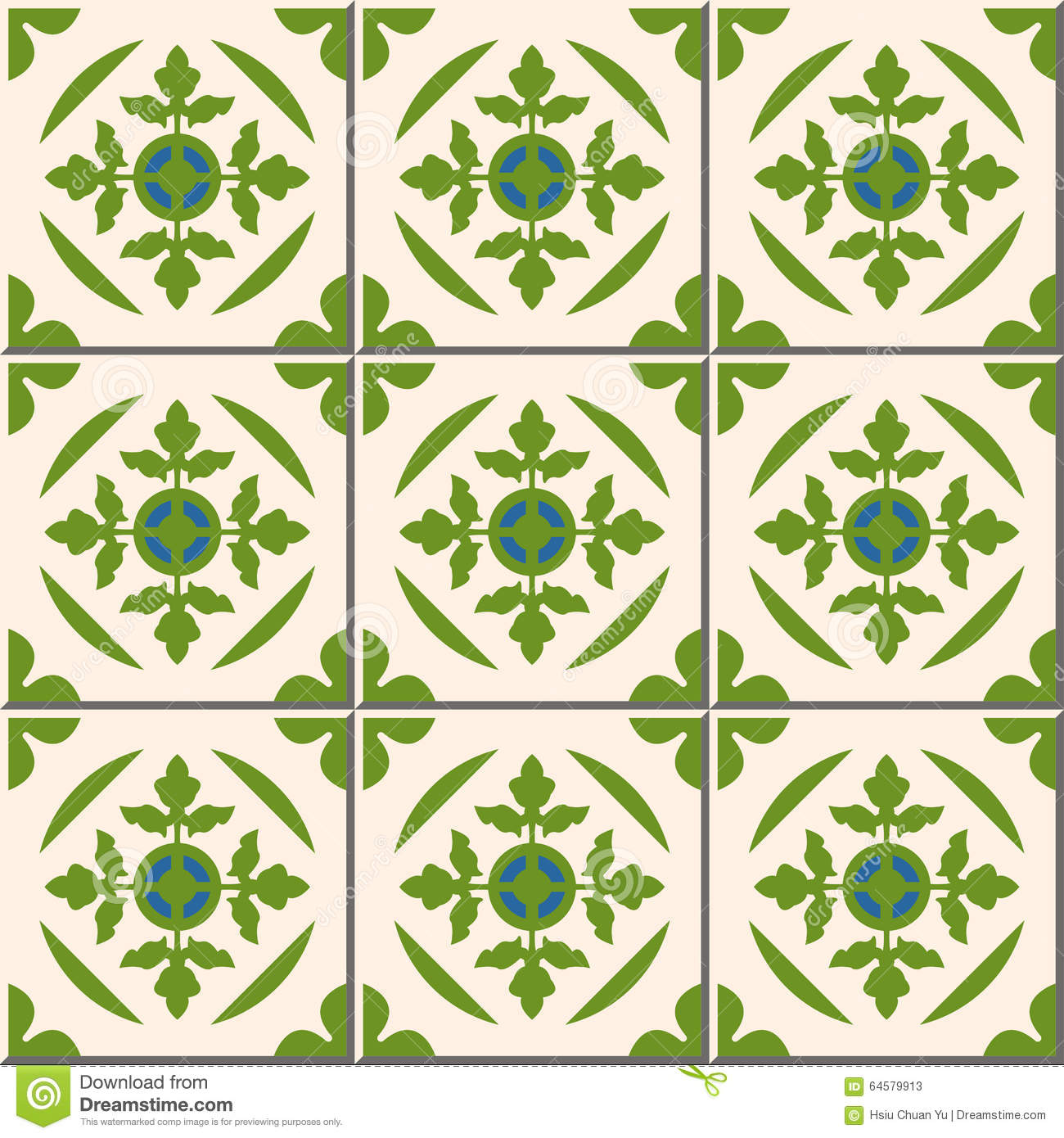 vintage seamless wall tiles of green leaf moroccan. Black Bedroom Furniture Sets. Home Design Ideas