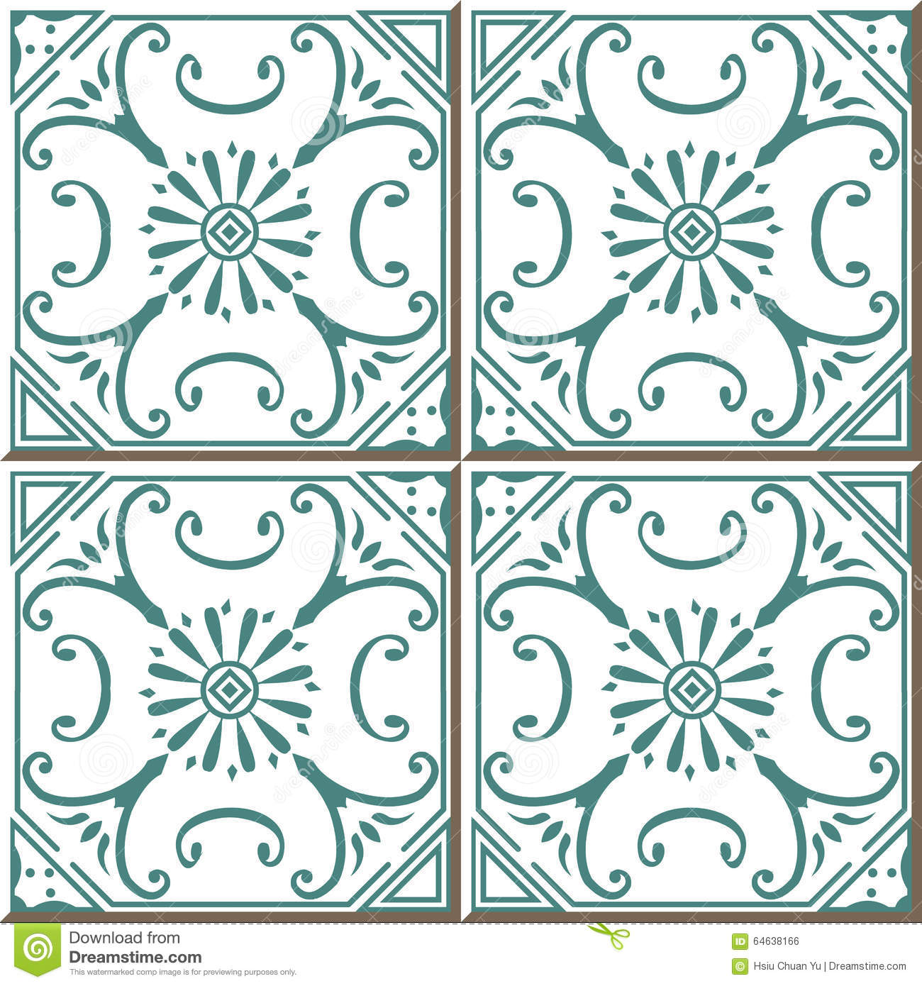 Vintage Seamless Wall Tiles Of Green Spiral Vine, Moroccan ...