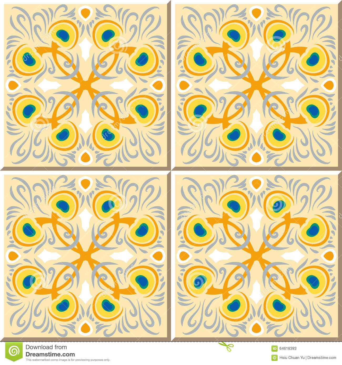 Vintage Seamless Wall Tiles Of Peacock Feather. Moroccan, Portuguese ...