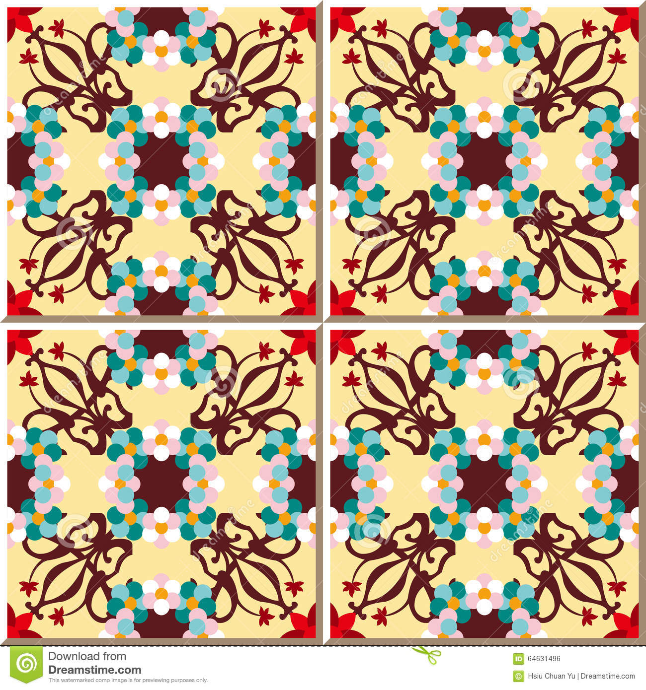 Vintage Seamless Wall Tiles Of Red Round Flower, Moroccan ...