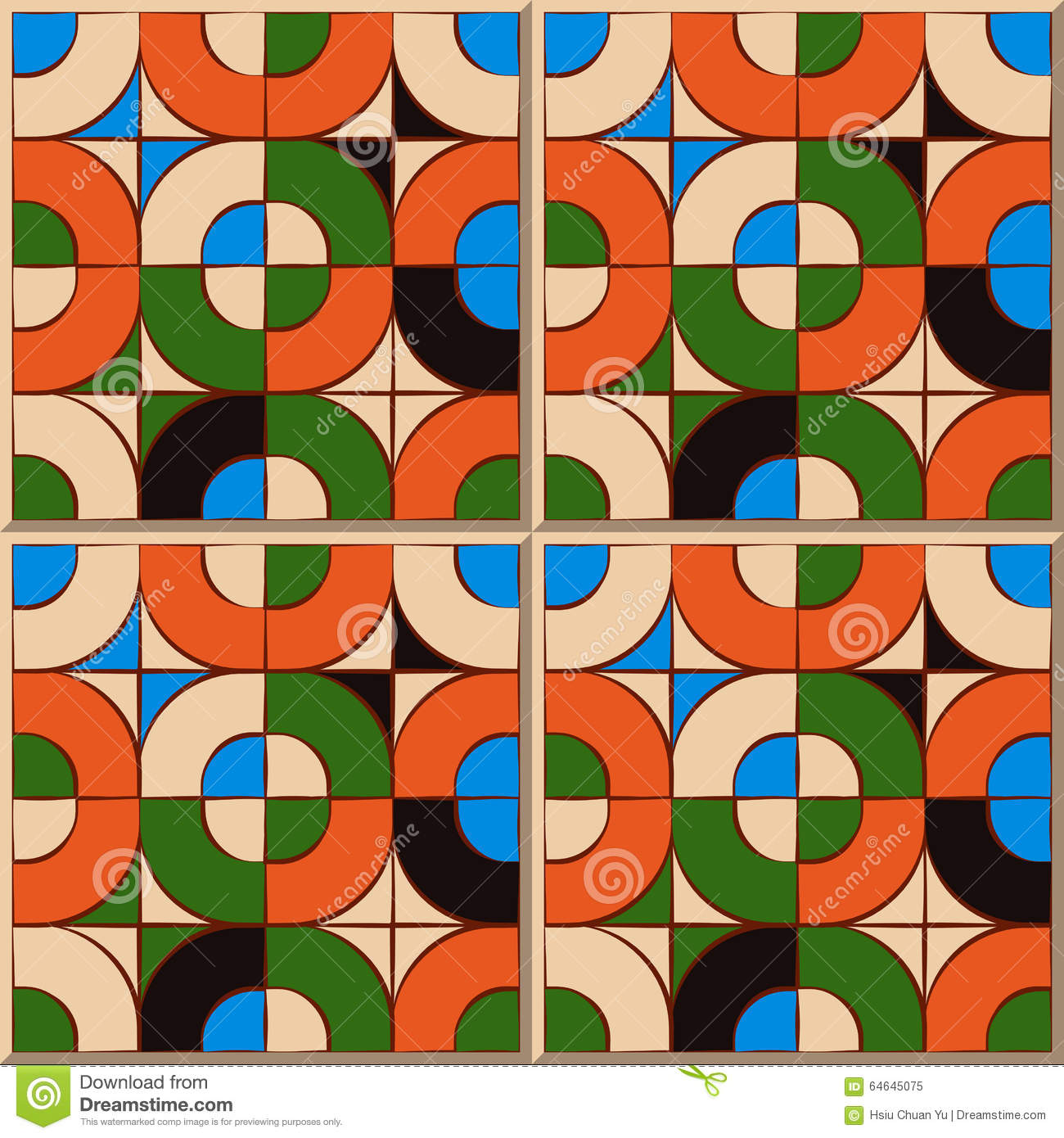 Round Mosaic Tile Patterns: Vintage Seamless Wall Tiles Of Round Square Mosaic