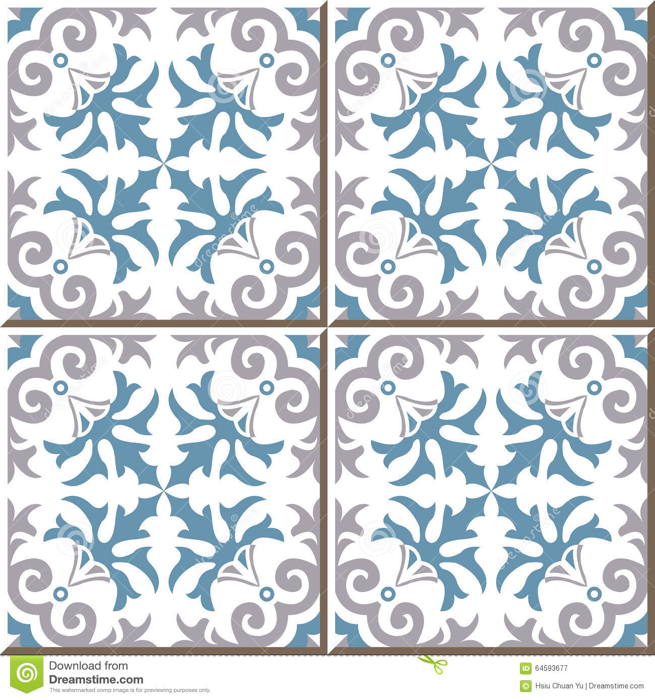 Vintage Seamless Wall Tiles Of Spiral Plant Flower. Moroccan ...