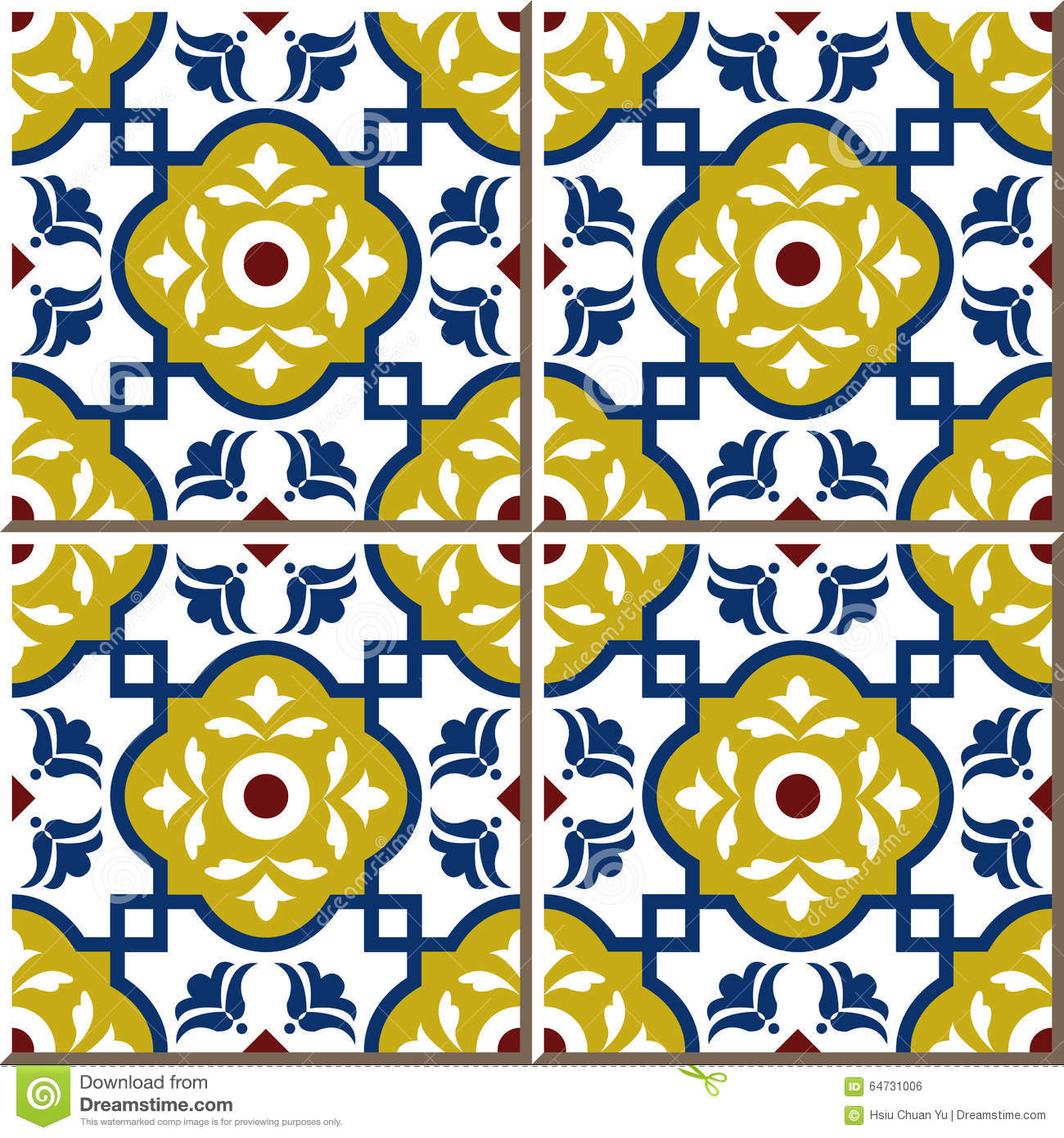 Vintage Seamless Wall Tiles Of Square Cross Flower, Moroccan ...