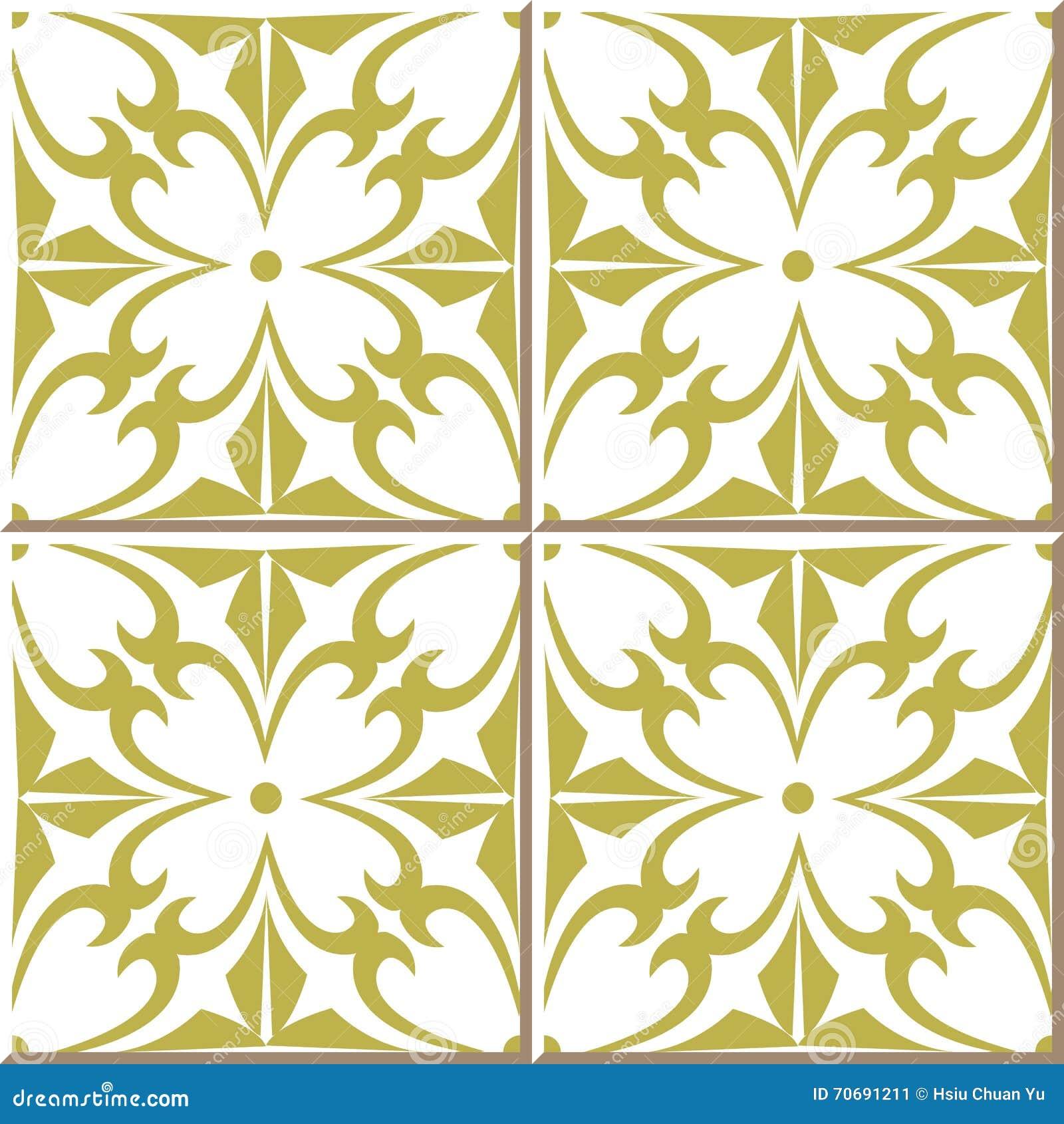 Vintage Seamless Wall Tiles Of Vintage Golden Spiral Cross Flower ...