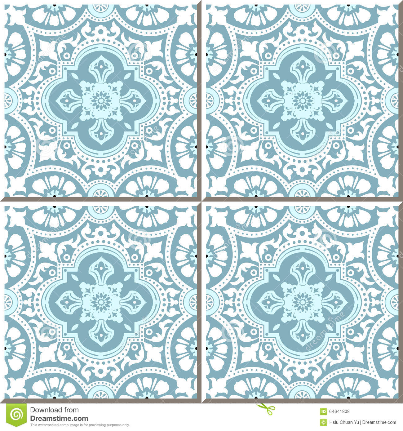 Vintage Seamless Wall Tiles Of White Lace Flower, Moroccan ...