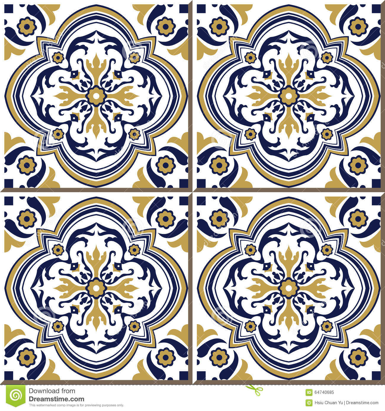 Vintage Seamless Wall Tiles Of Yellow Blue Spiral Flower