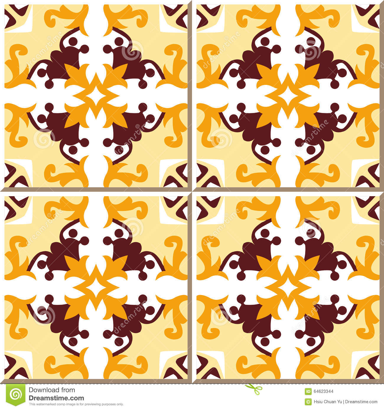 Vintage Seamless Wall Tiles Of Yellow Flower Vine, Moroccan ...
