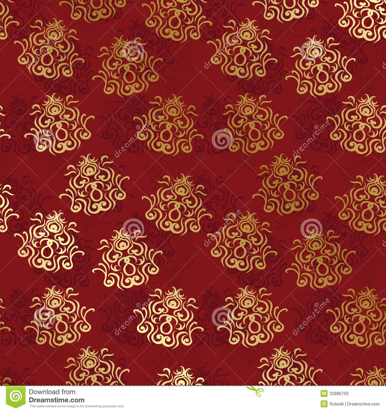 Vintage Seamless Wallpaper On A Red Background Stock ...