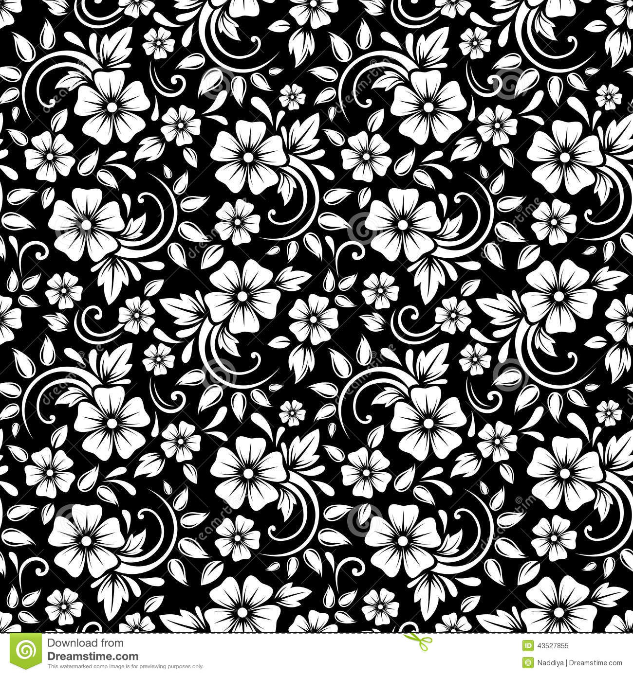Vintage Seamless White Floral Pattern On A Black