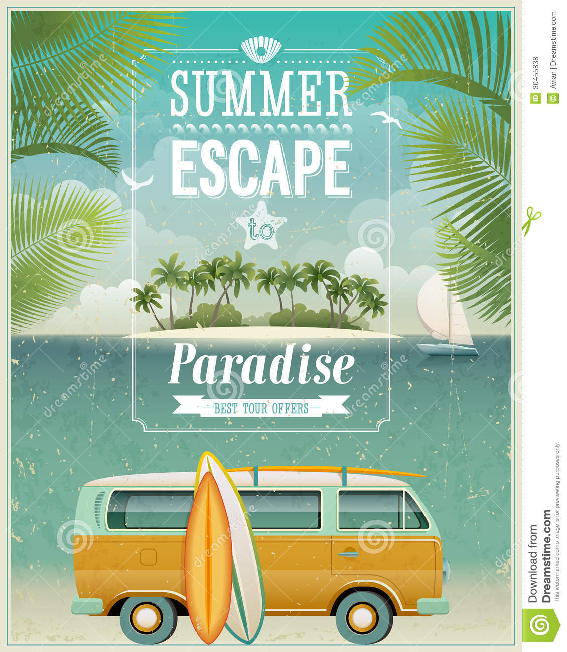 Vintage Seaside View Poster With Surfing Van. Vect Stock