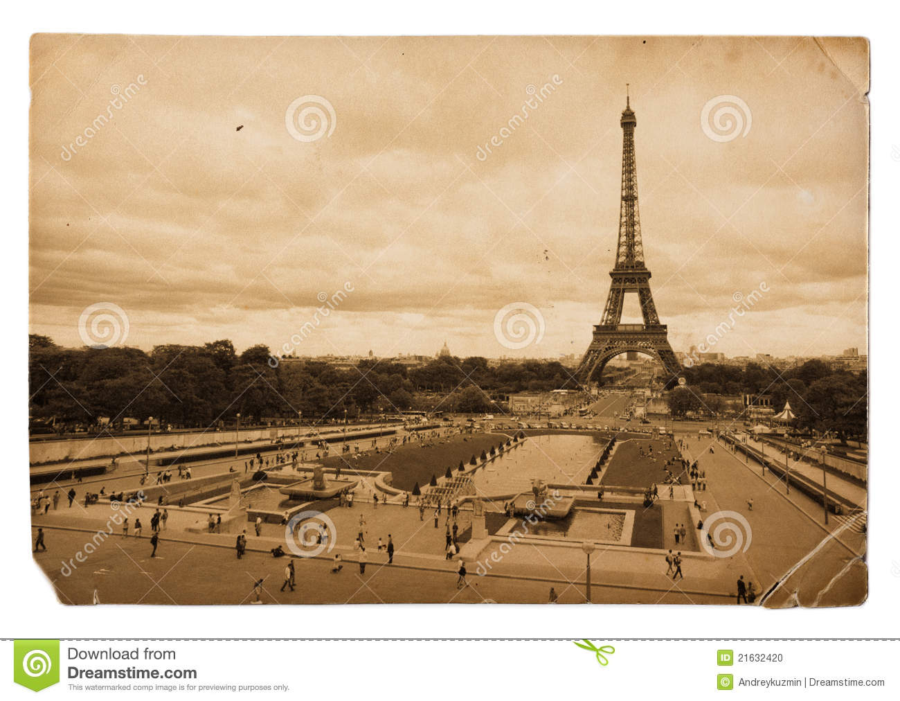 Vintage Sepia Postcard Of Eiffel Tower In Paris Stock