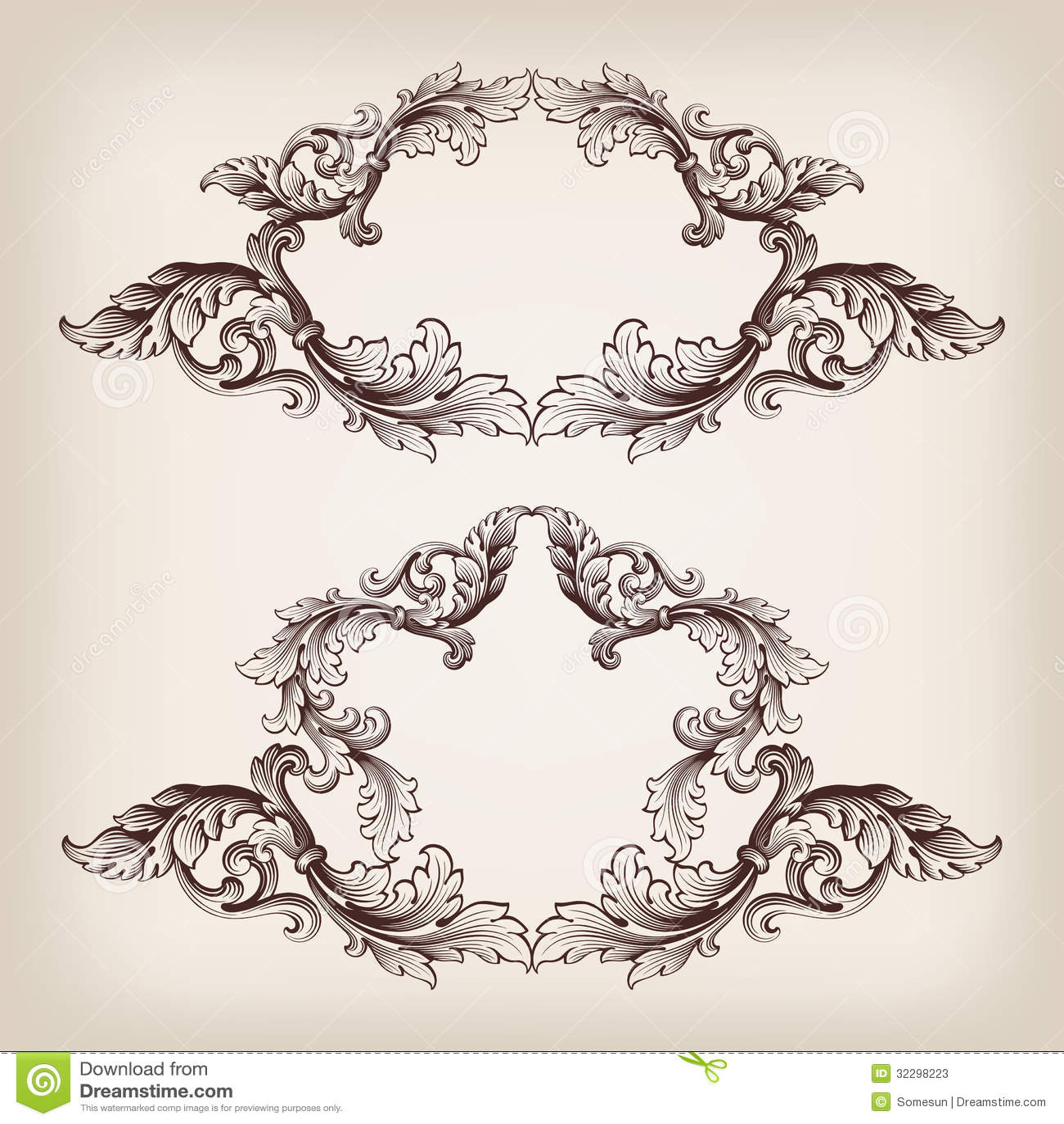 Vintage Set Border Frame Engraving Baroque Vector Stock ...
