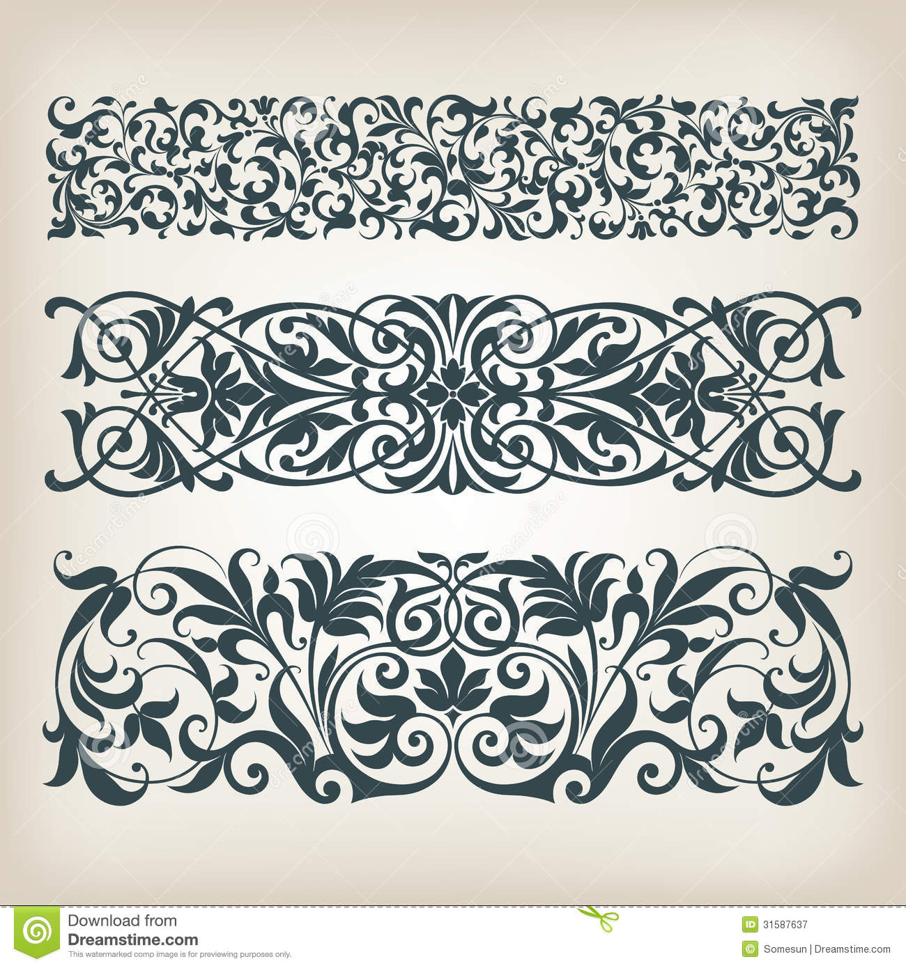 Vintage background ornate baroque pattern vector illustration stock - Vintage Set Border Frame Ornate Scroll Calligraphy Vector Royalty Free Stock Photography
