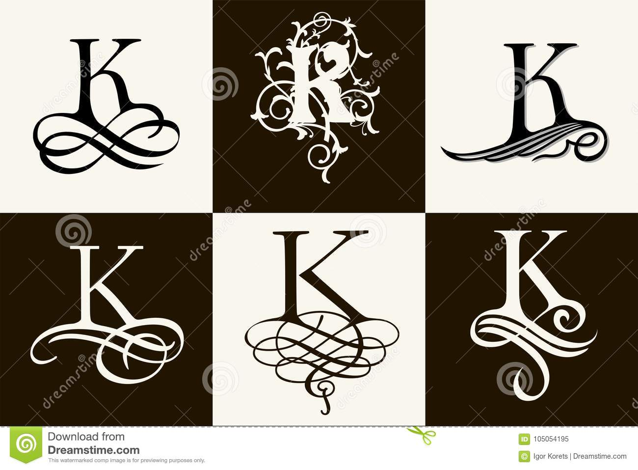 Vintage Set Capital Letter K For Monograms And Logos Beautiful