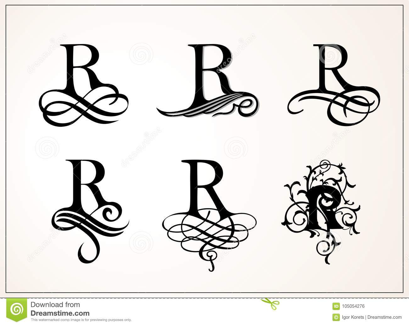 Vintage Set Capital Letter R For Monograms And Logos Beautiful